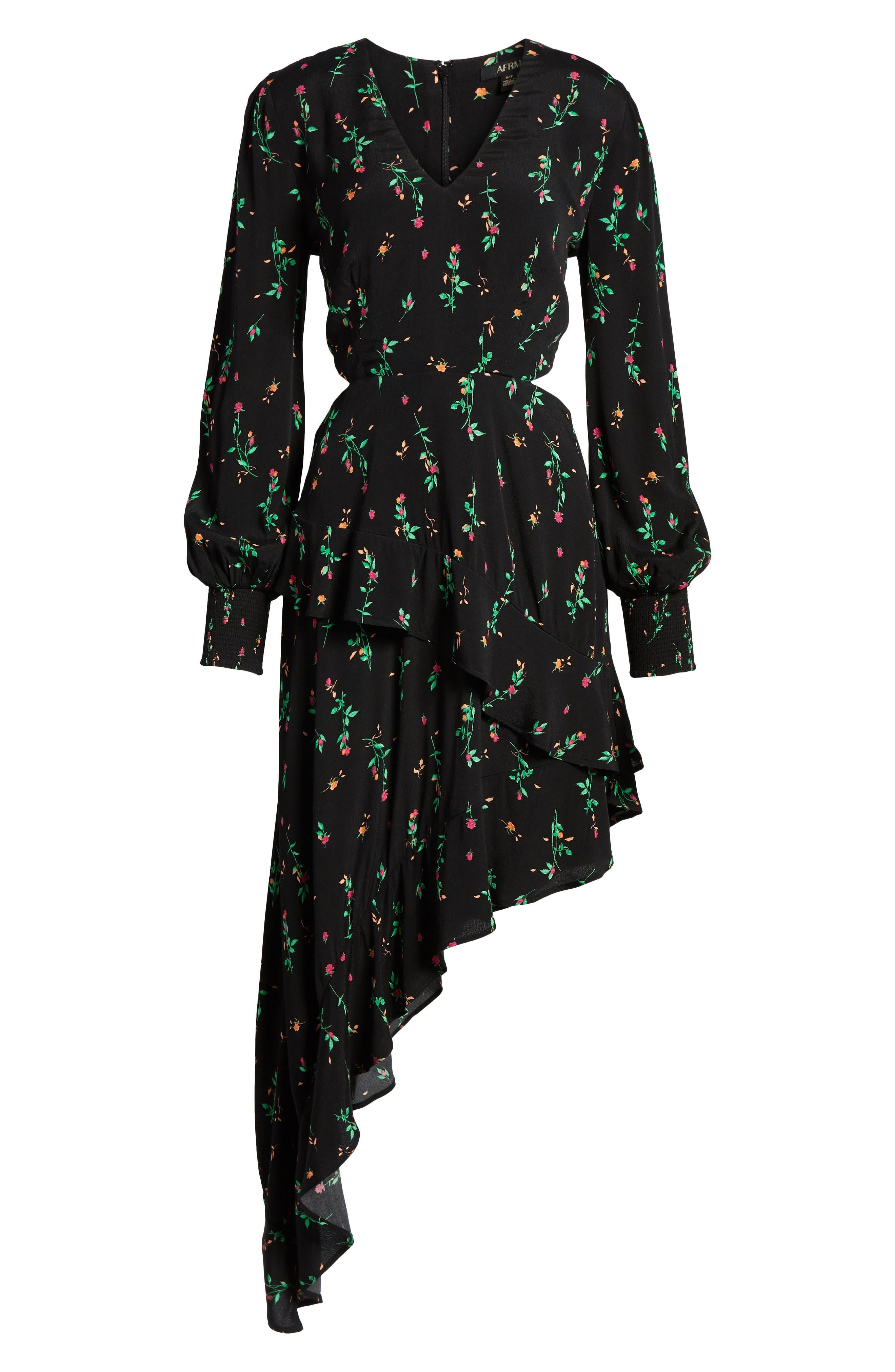 Mabel Cutout Asymmetrical Dress,                             Alternate thumbnail 6, color,                             001