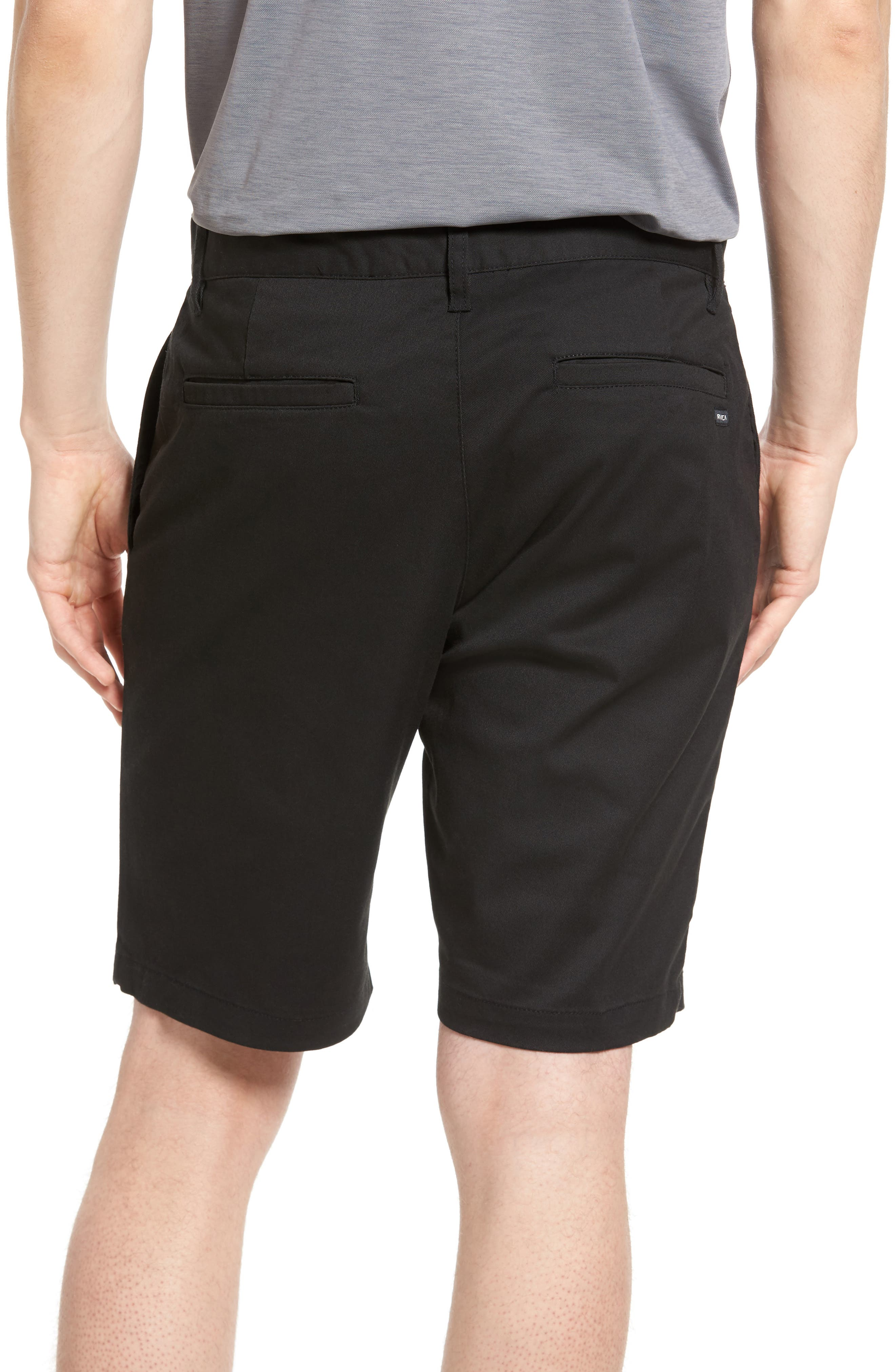 The Week-End Stretch Twill Chino Shorts,                             Alternate thumbnail 2, color,                             BLACK