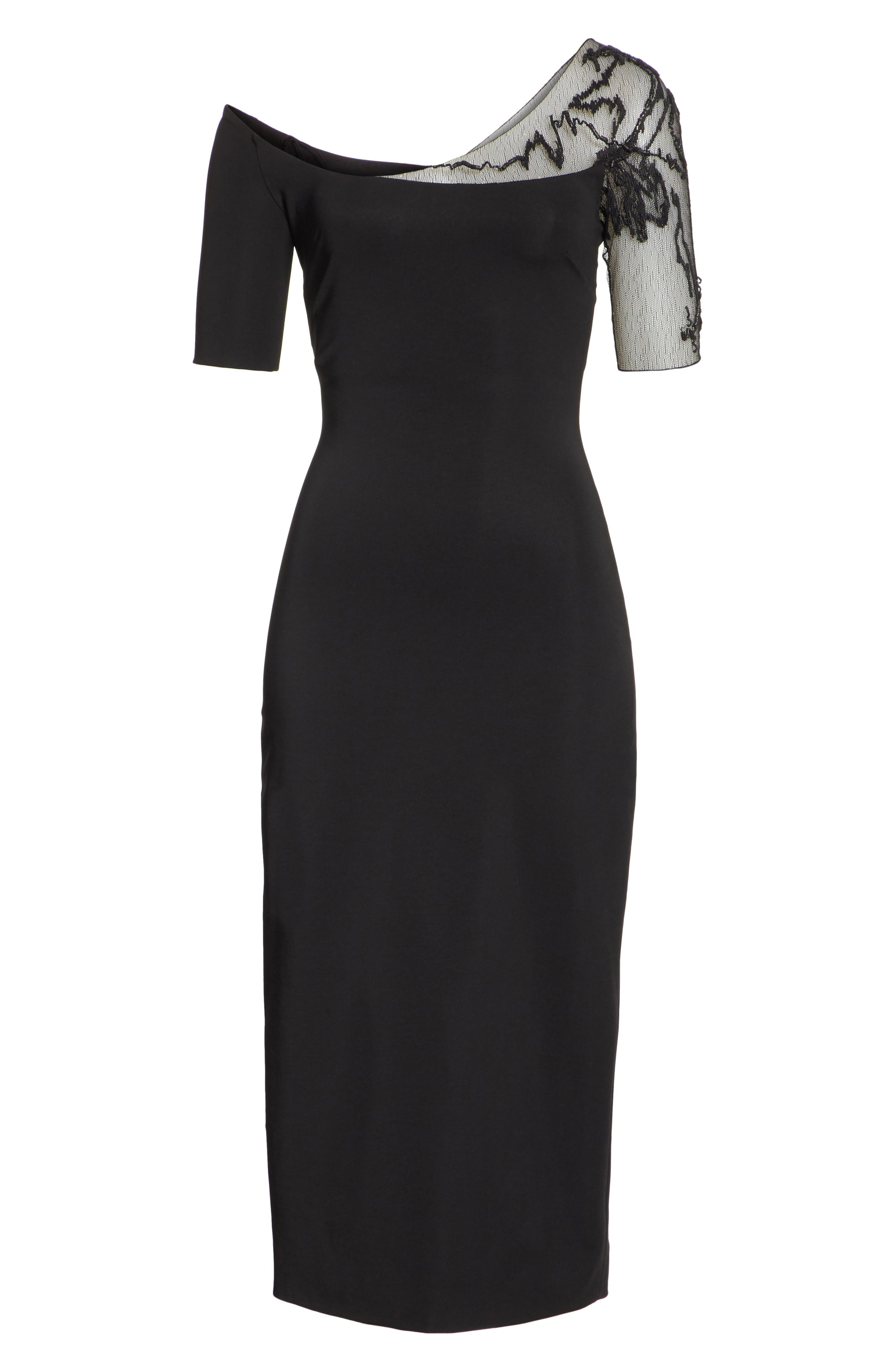 CUSHNIE,                             et Ochs Embellished Mesh One-Shoulder Sheath Dress,                             Alternate thumbnail 6, color,                             001
