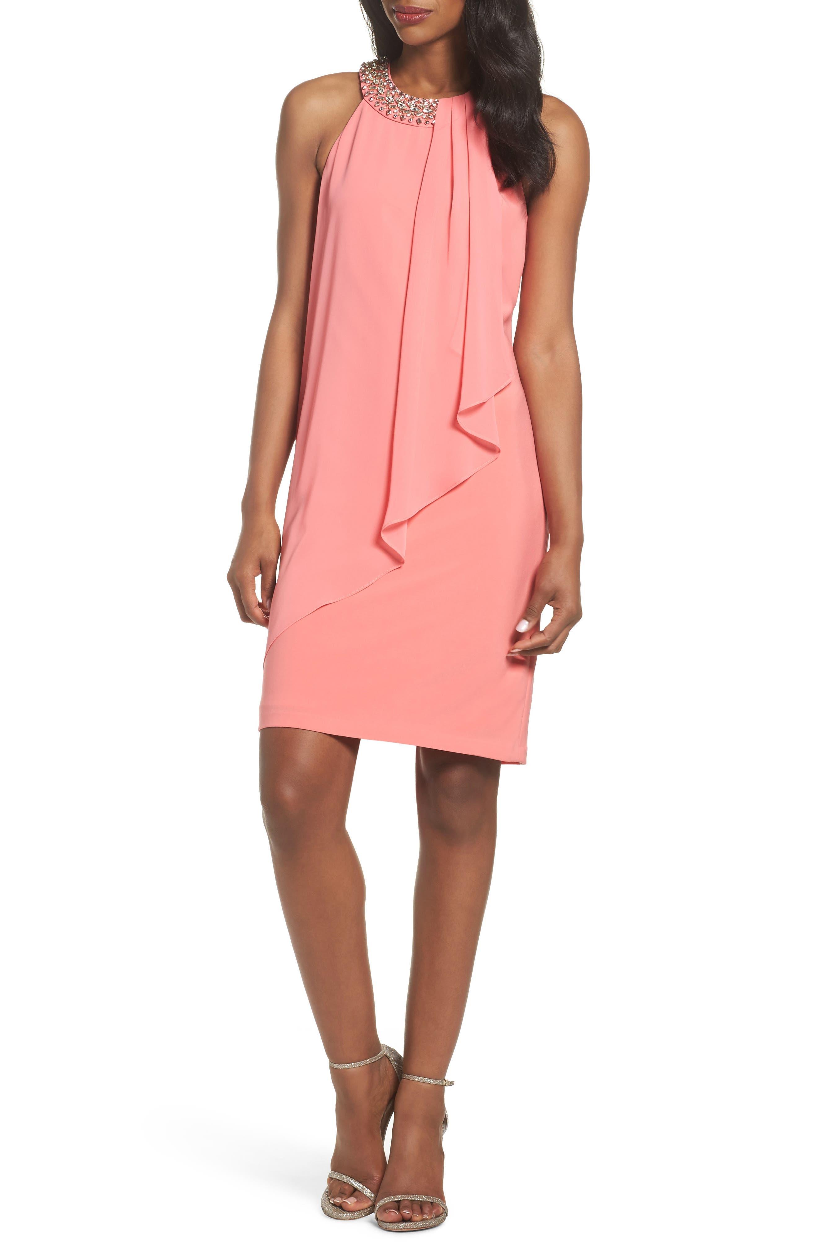 Embellished Chiffon Overlay A-Line Dress,                             Main thumbnail 1, color,                             651