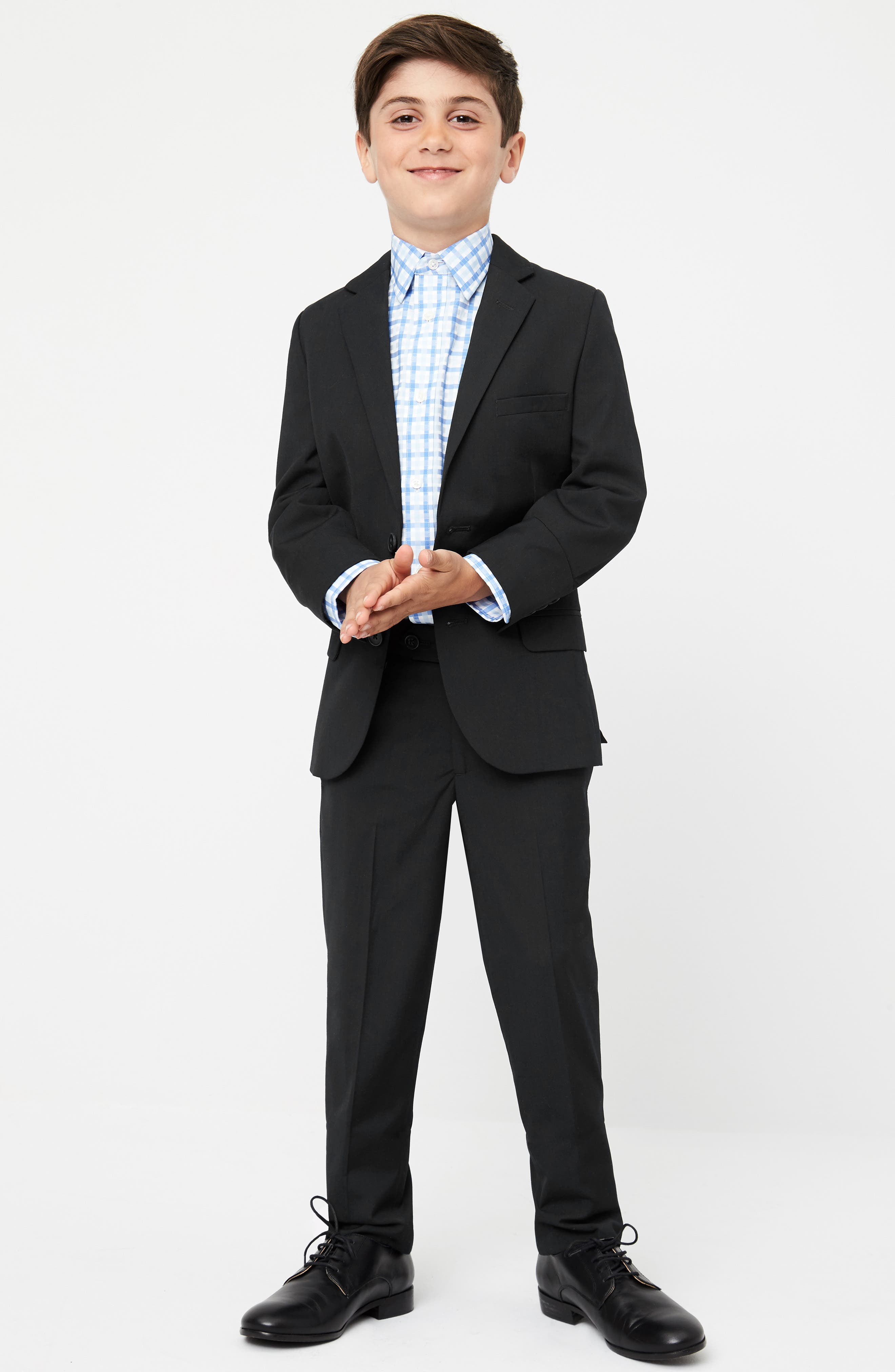 Elliott Slim Fit Flat Front Trousers,                             Alternate thumbnail 3, color,                             BLACK