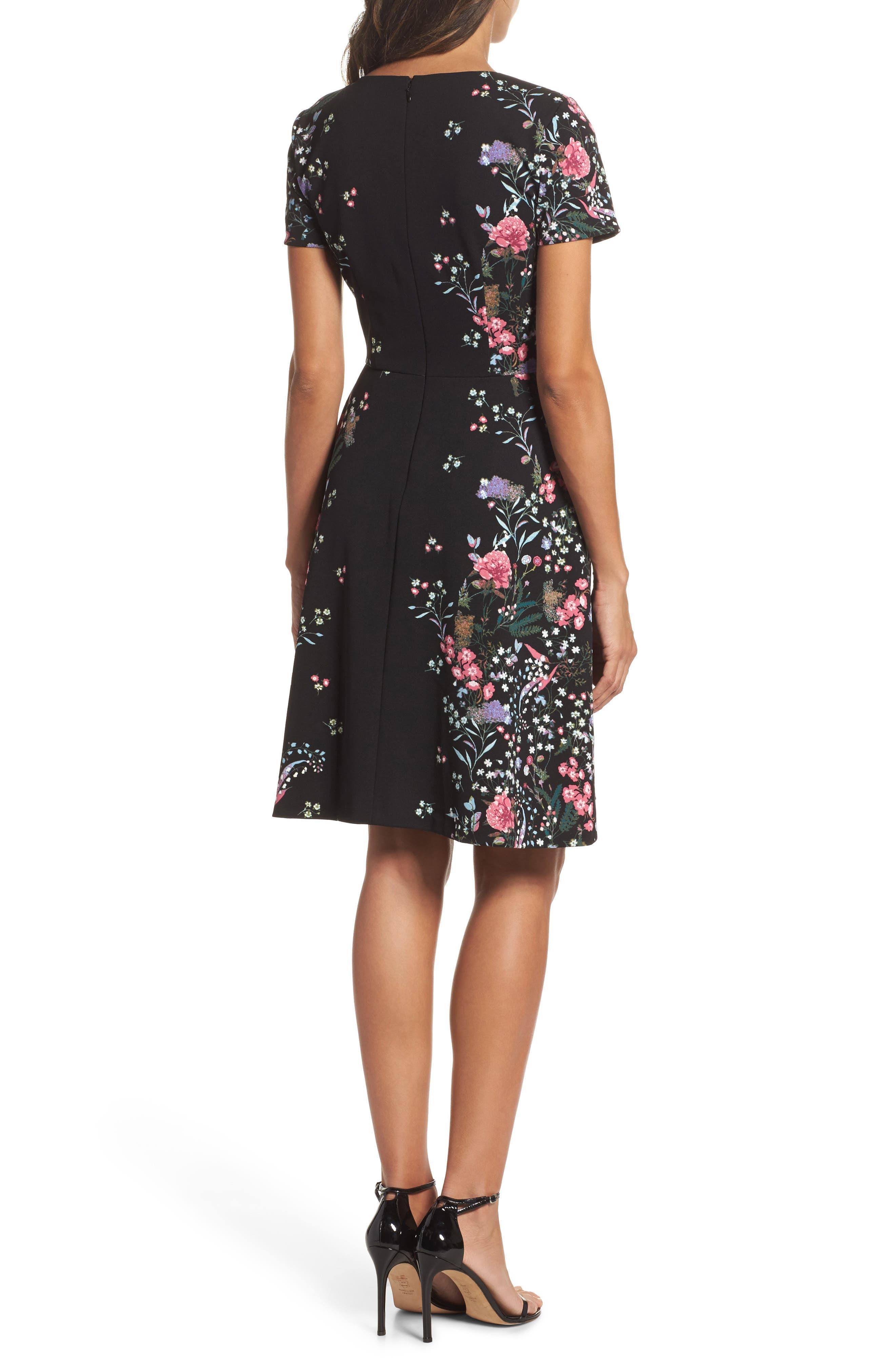 Print Scuba Knit Fit & Flare Dress,                             Alternate thumbnail 2, color,