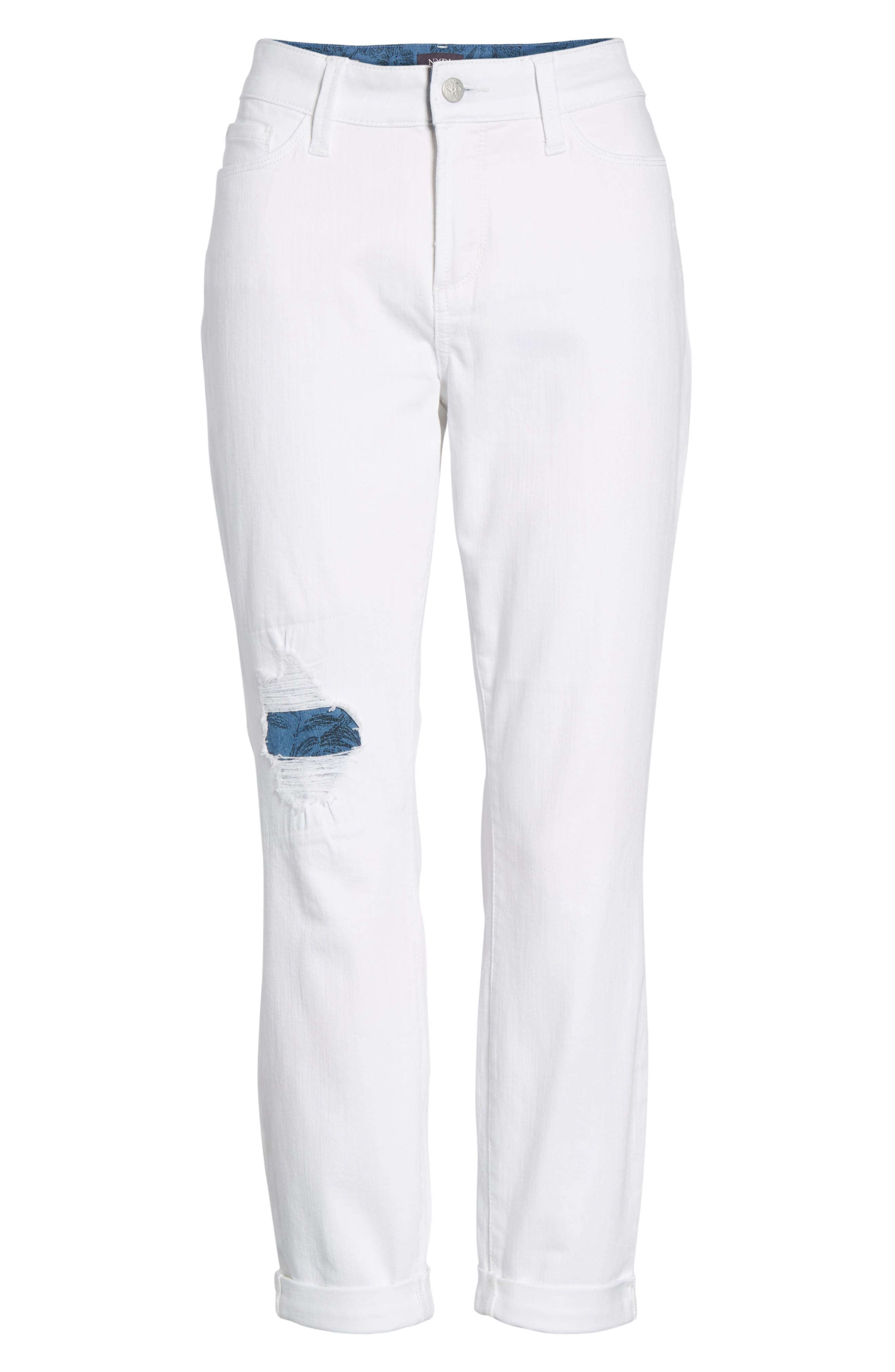 Ripped Stretch Ankle Jeans,                             Alternate thumbnail 6, color,                             115