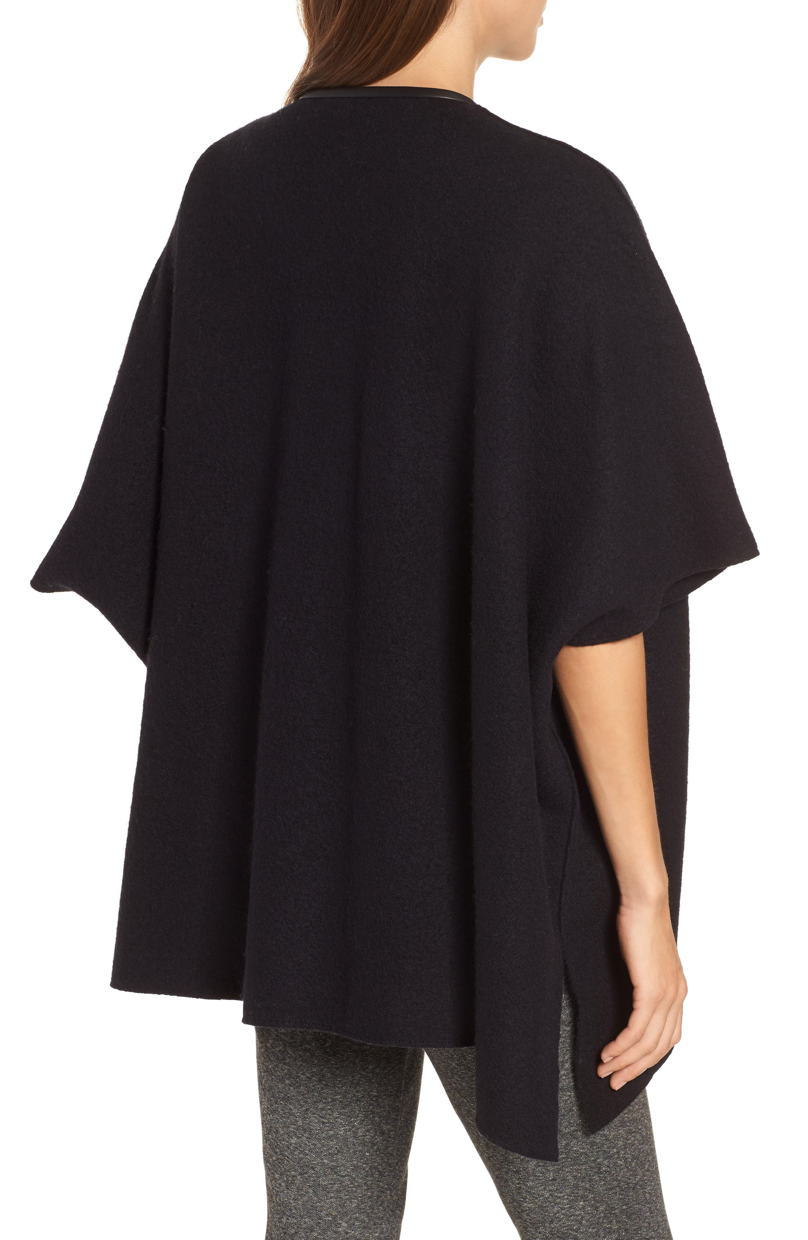 Boiled Wool Poncho Jacket with Leather Trim,                             Alternate thumbnail 2, color,                             BLACK