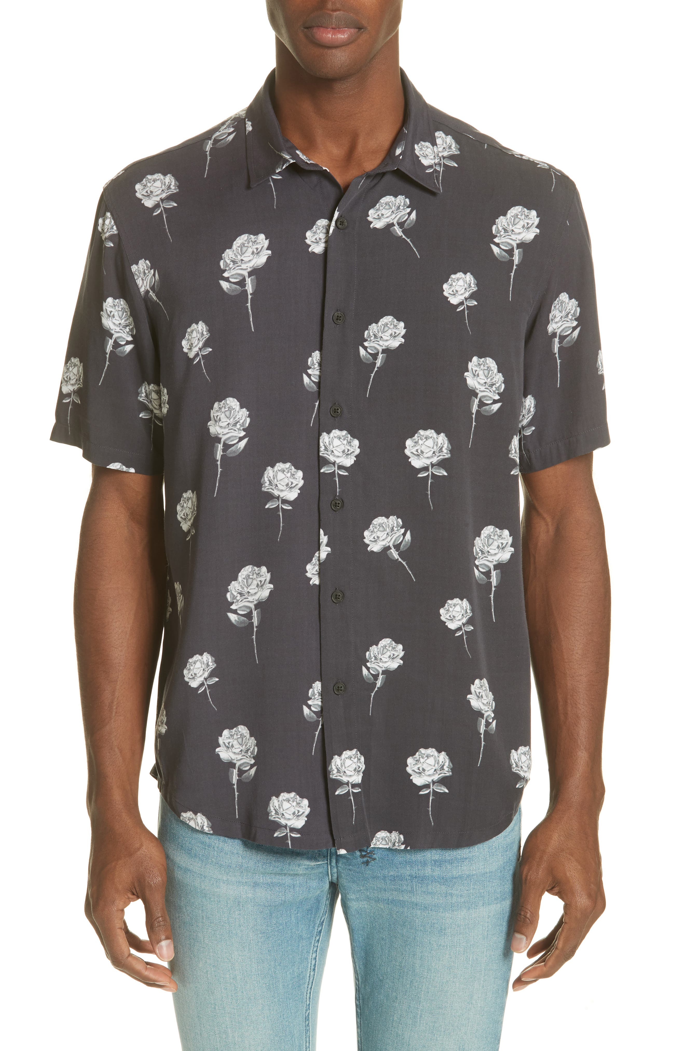 Chrome Rose Print Shirt,                             Main thumbnail 1, color,                             BROWN