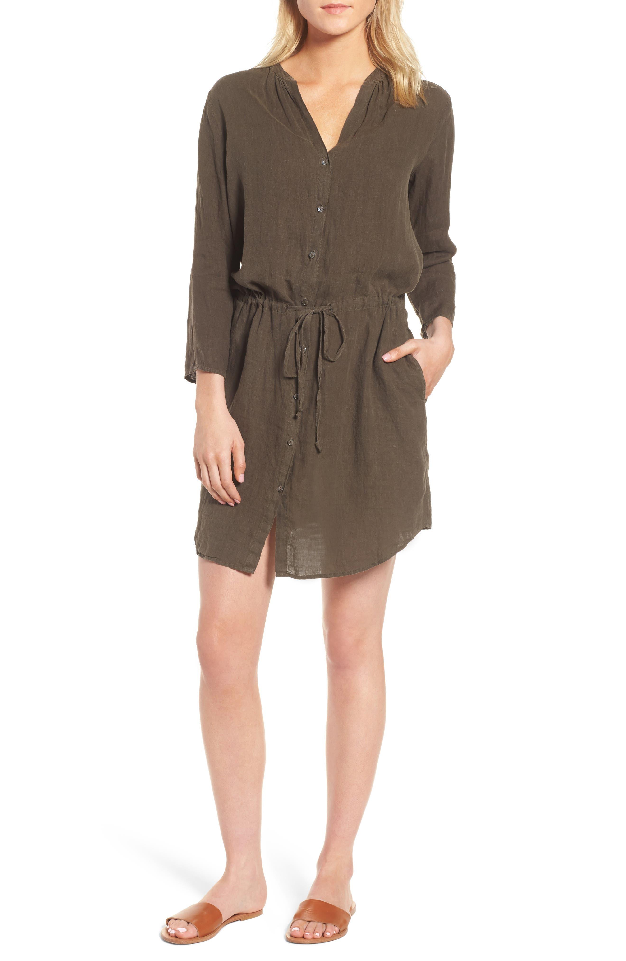 Linen Drawstring Shirtdress,                             Main thumbnail 1, color,                             337