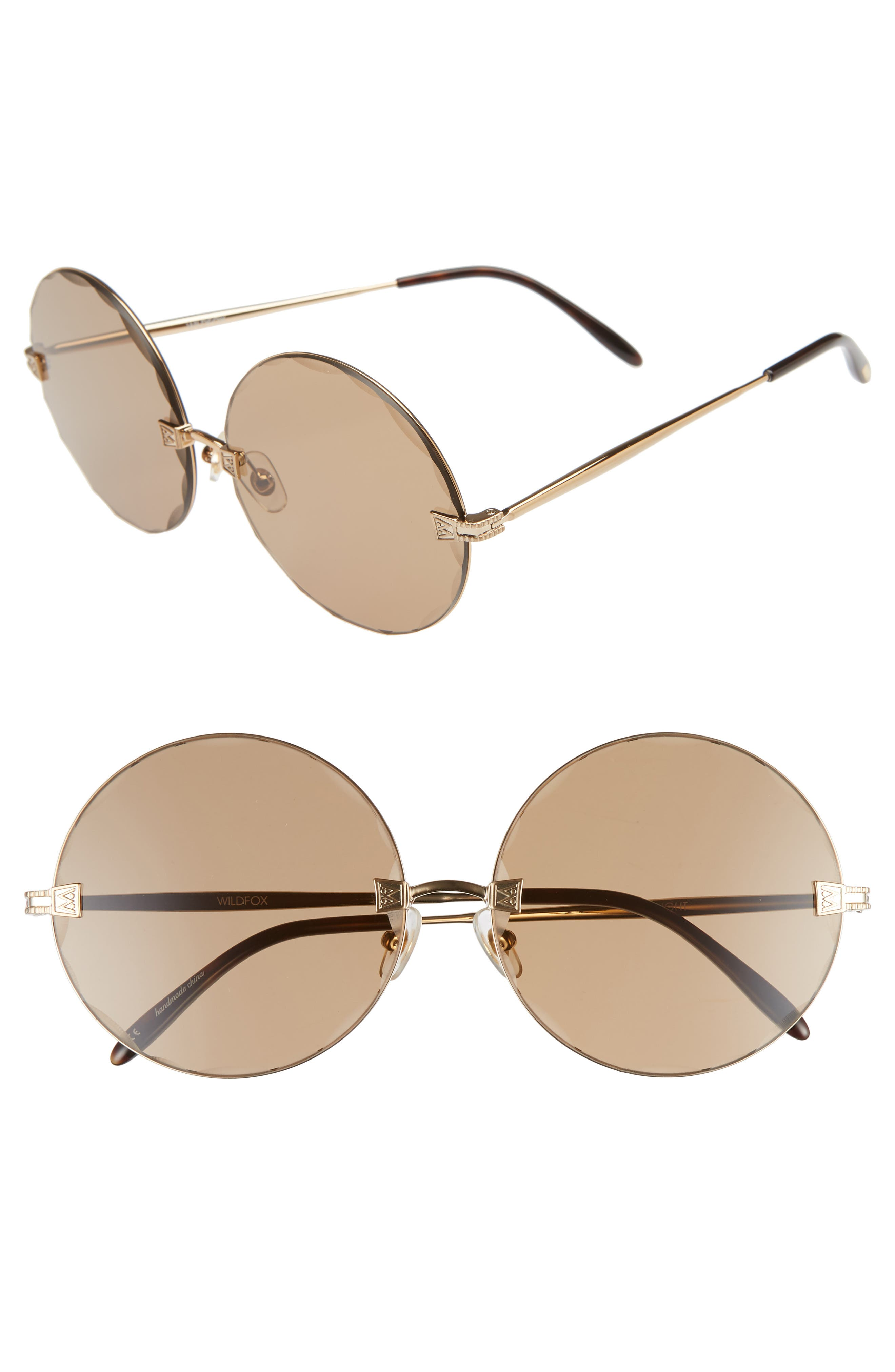 Starlight 62mm Oversize Round Sunglasses,                             Main thumbnail 1, color,                             ANTIQUE GOLD/ BROWN SOLID