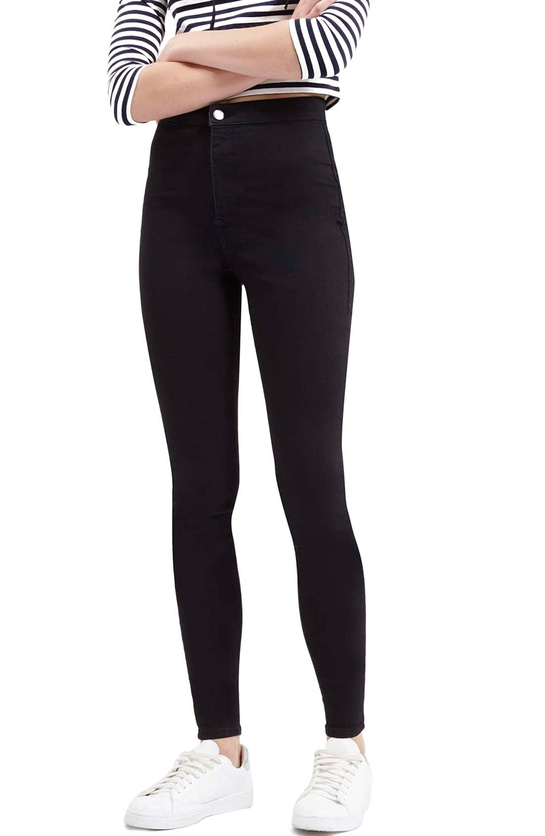 Moto 'Joni' High Rise Skinny Jeans,                             Main thumbnail 1, color,                             001