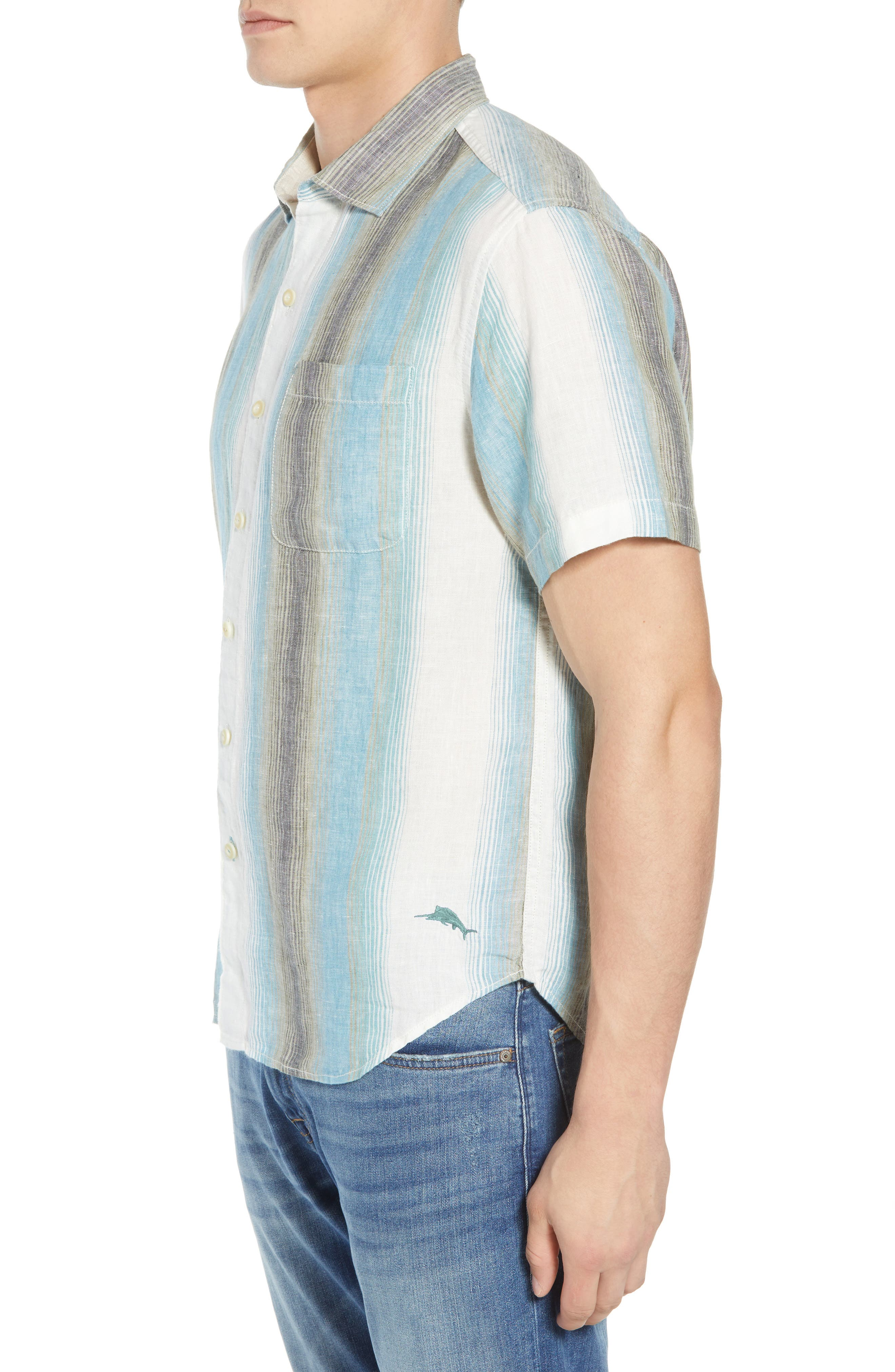 Sanchez Stripe Linen Sport Shirt,                             Alternate thumbnail 3, color,                             VOYAGER BLUE