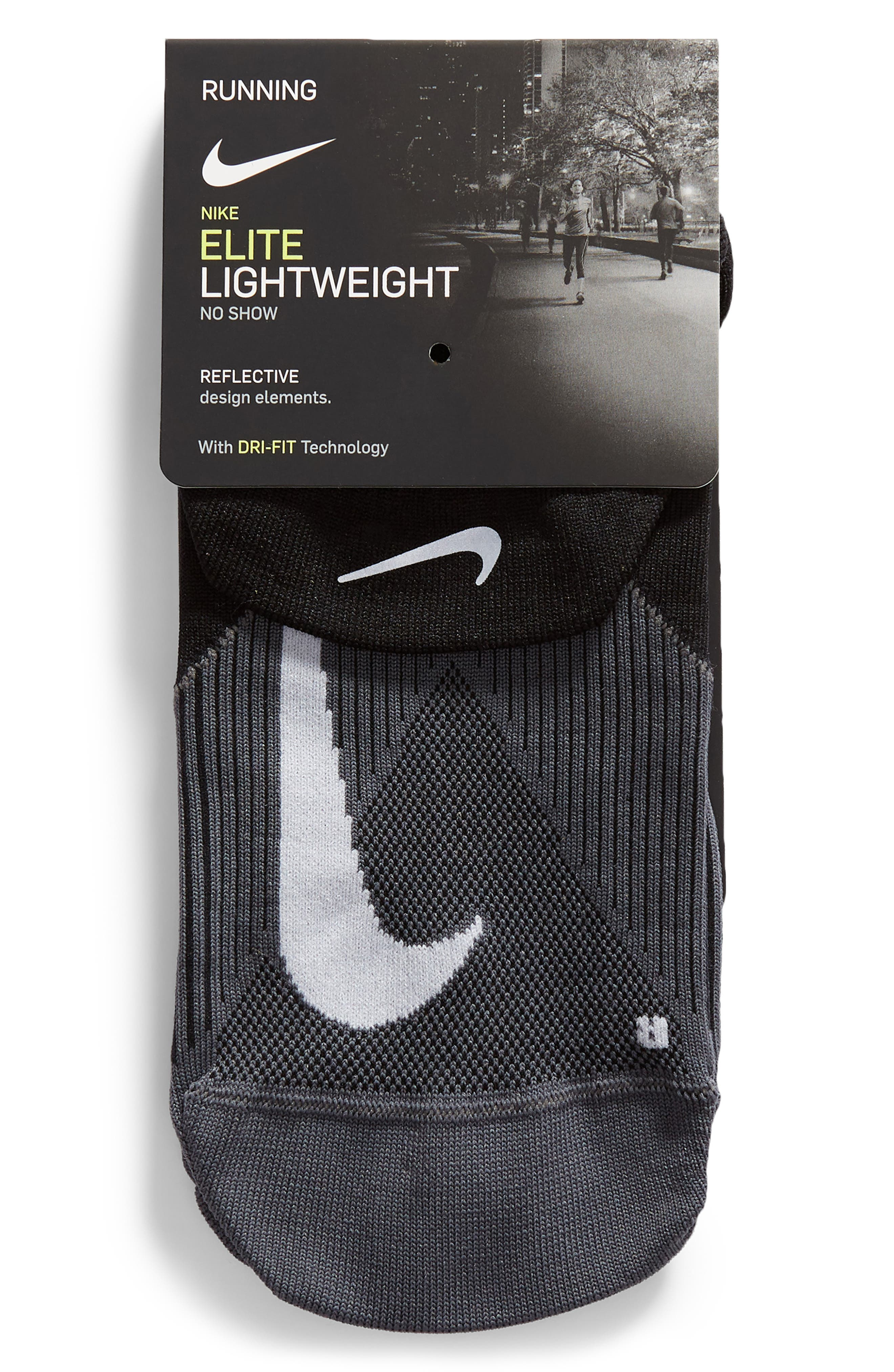 Elite Lightweight No-Show Socks,                             Alternate thumbnail 3, color,                             BLACK/ WHITE