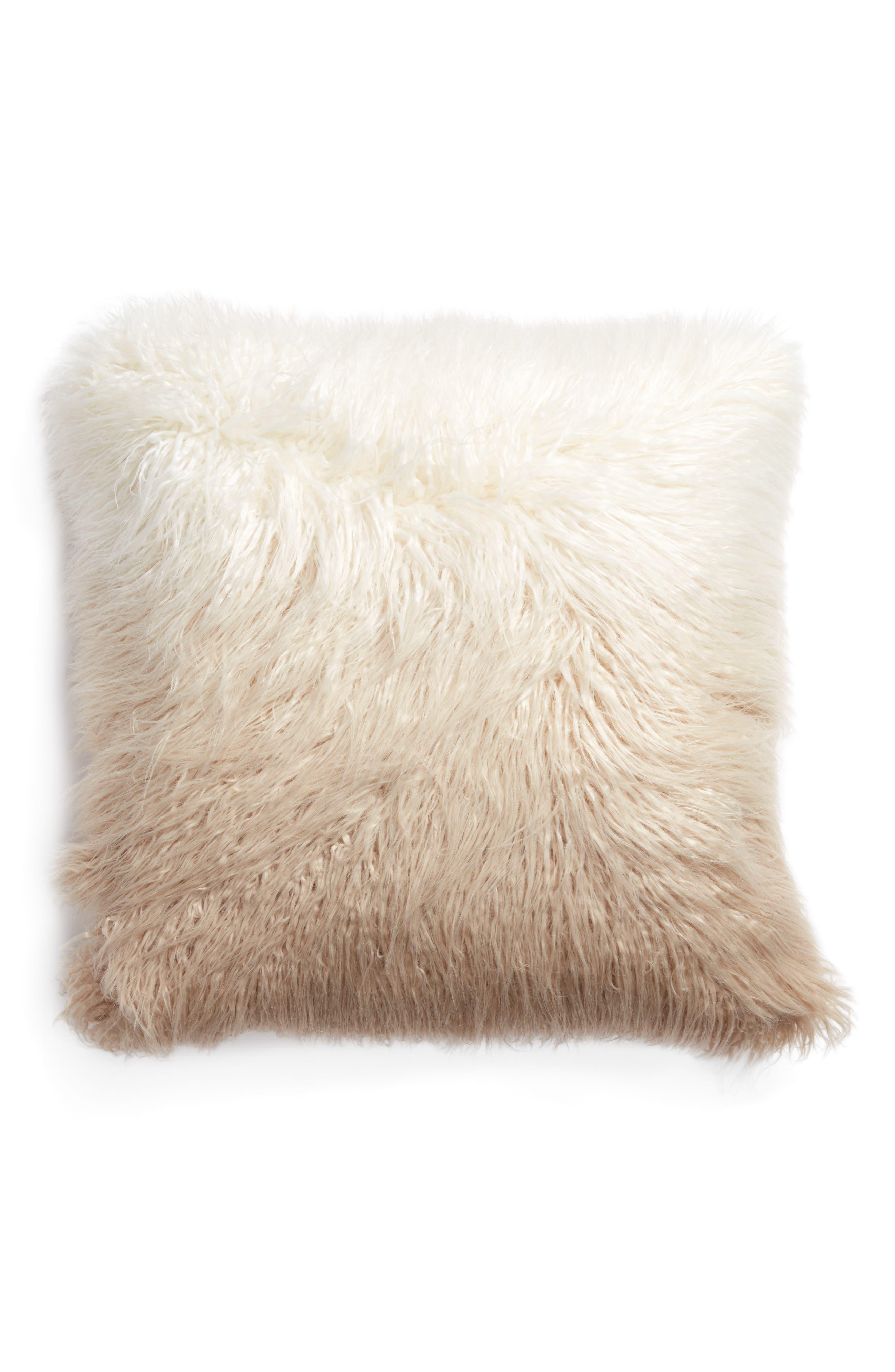 Ombré Faux Fur Flokati Accent Pillow,                             Main thumbnail 5, color,