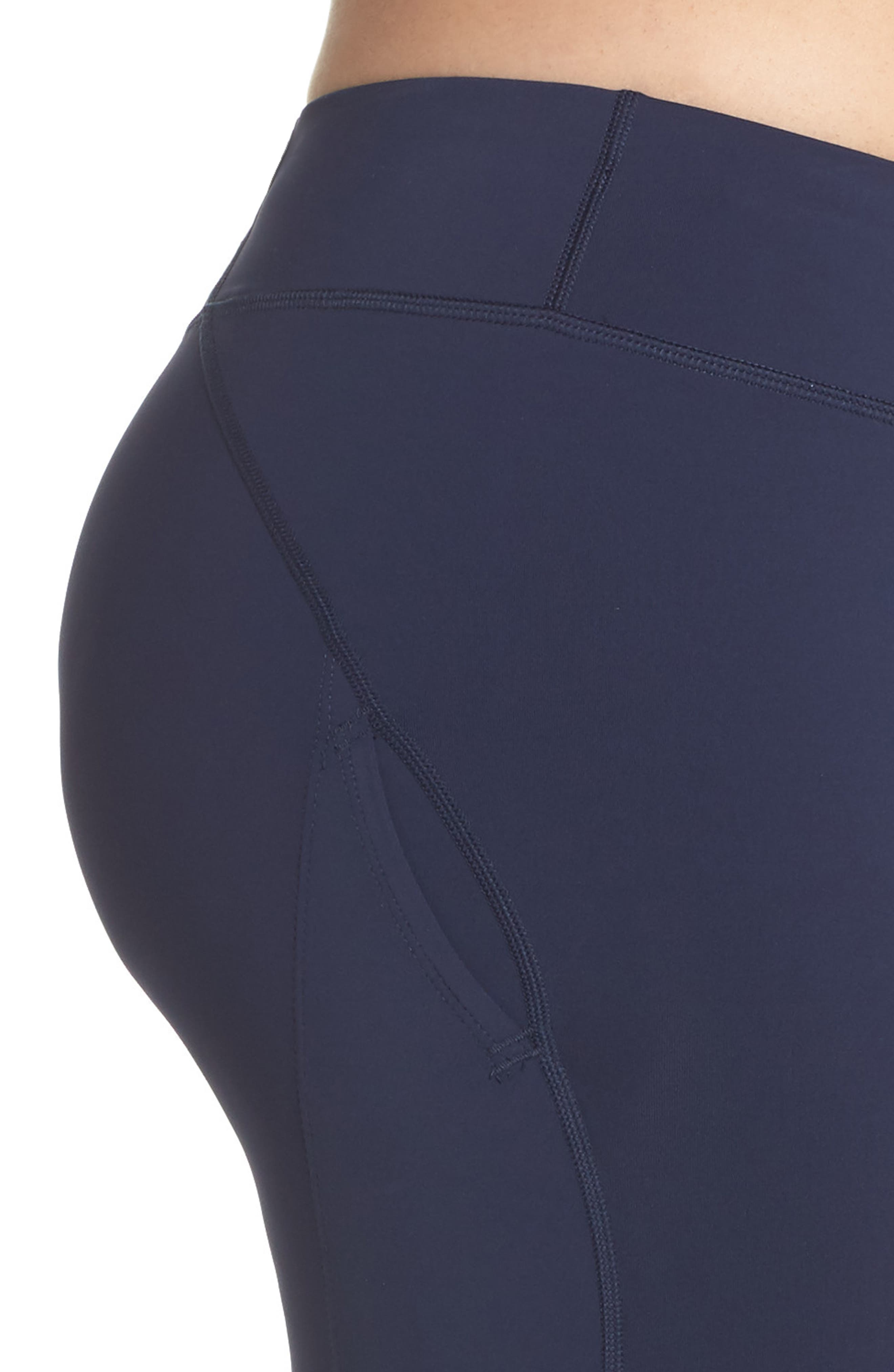 Power Epic Lux Crop Running Tights,                             Alternate thumbnail 4, color,                             OBSIDIAN