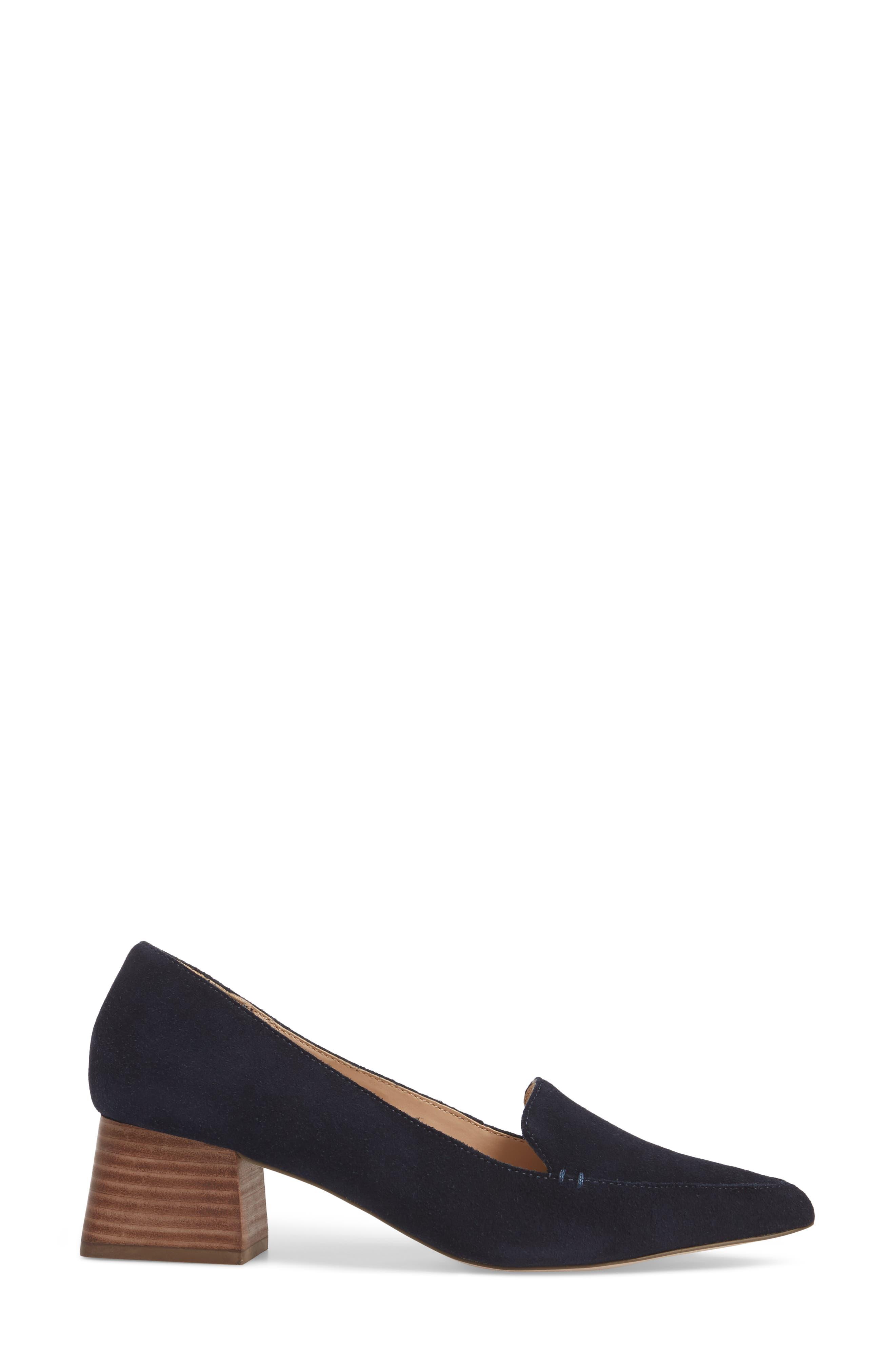 Mavis Flare Heel Loafer,                             Alternate thumbnail 3, color,                             OMBRE BLUE