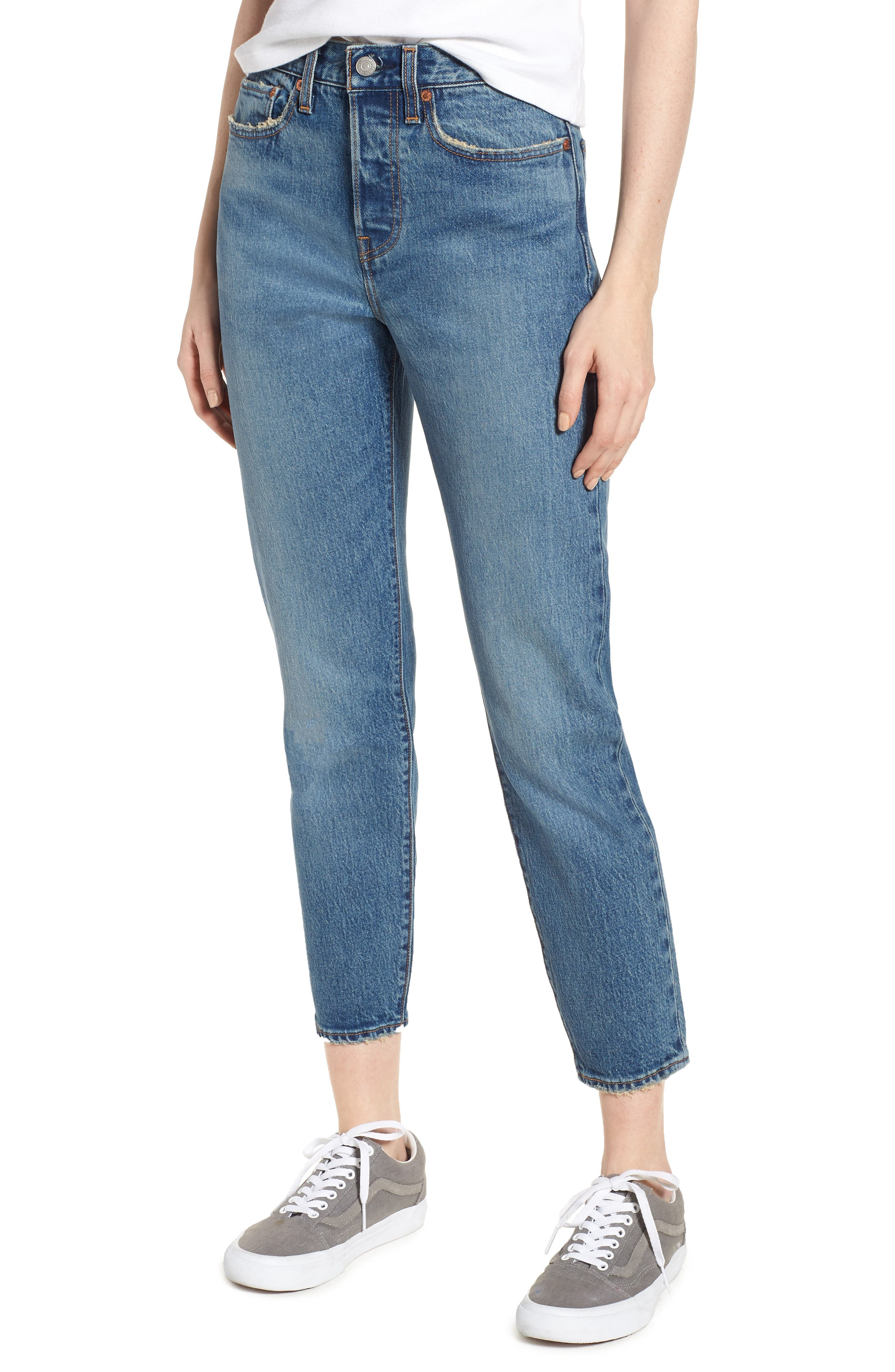 Wedgie Icon Fit High Waist Ankle Jeans,                             Main thumbnail 1, color,                             THESE DREAMS