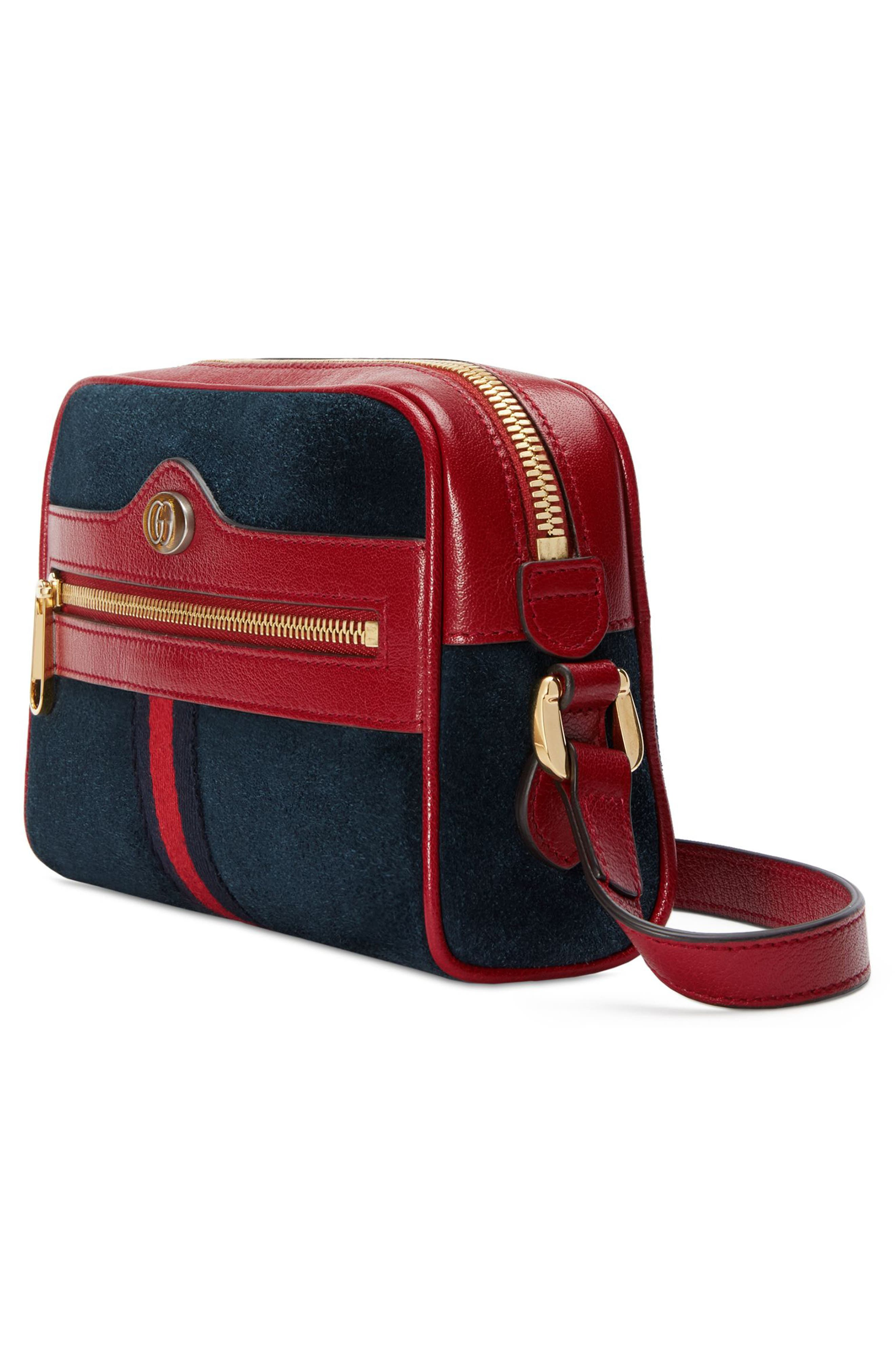 Ophidia Small Suede & Leather Crossbody Bag,                             Alternate thumbnail 4, color,                             NEW BLU/ ROMANATIC CERISE