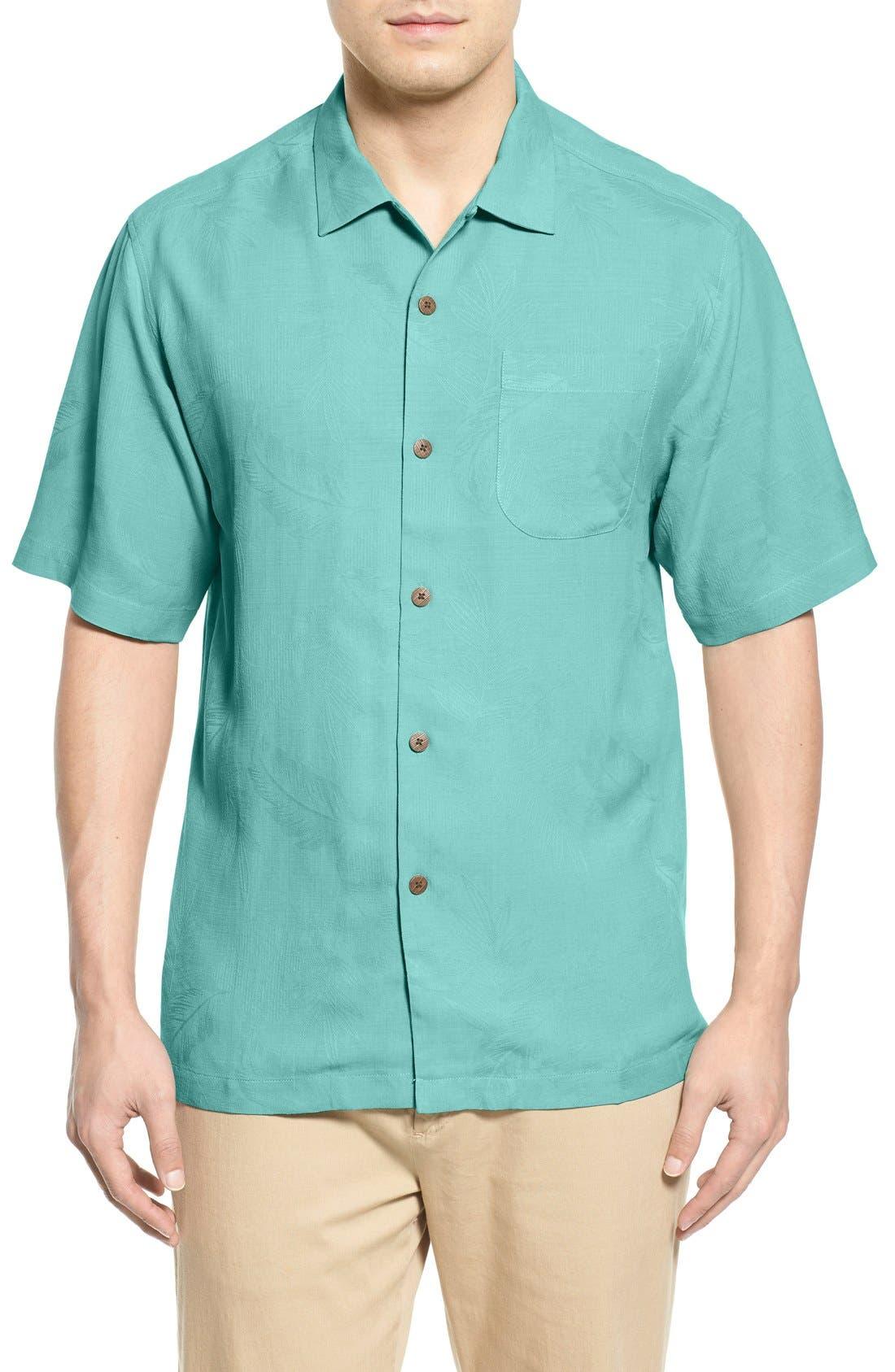 Rio Fronds Short Sleeve Silk Sport Shirt,                             Main thumbnail 10, color,