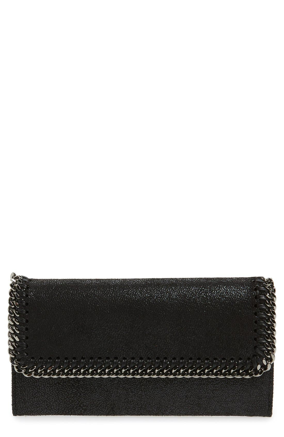 'Falabella - Rainbow POP' Faux Leather Continental Wallet,                         Main,                         color, BLACK