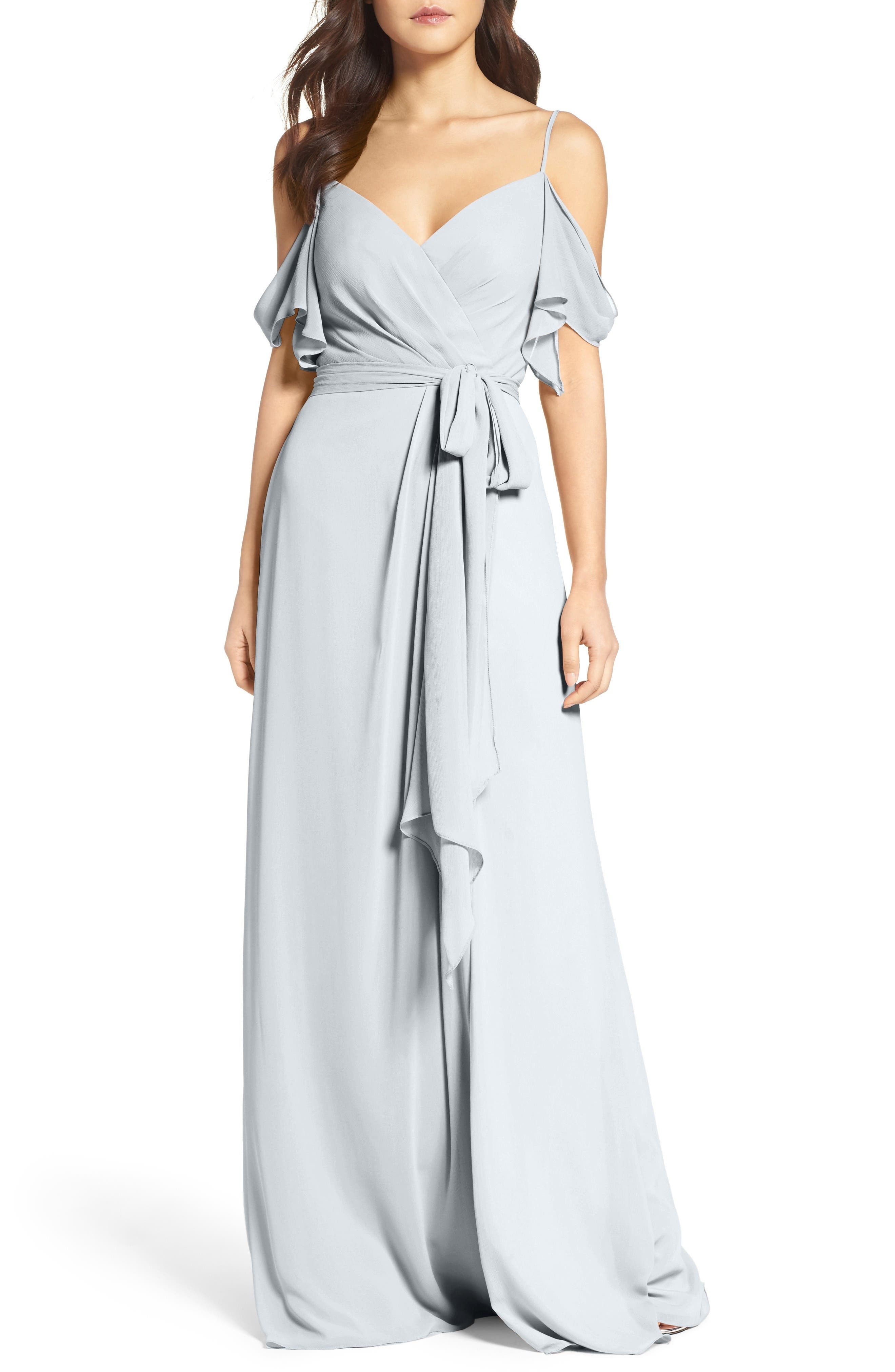 Aldridge A-Line Chiffon Gown,                             Main thumbnail 1, color,                             FRENCH BLUE