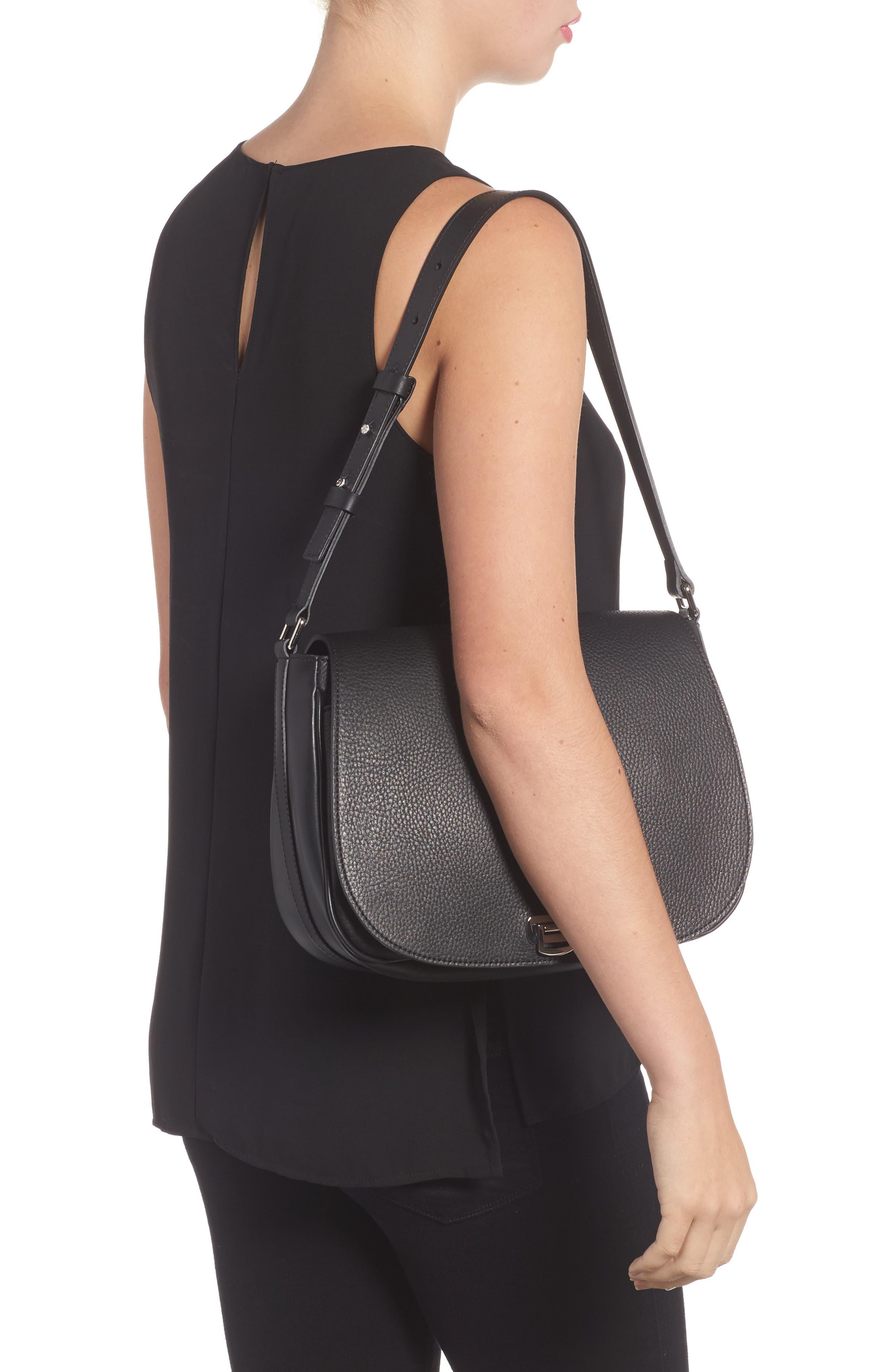 Calfskin Leather Shoulder Bag,                             Alternate thumbnail 2, color,                             001