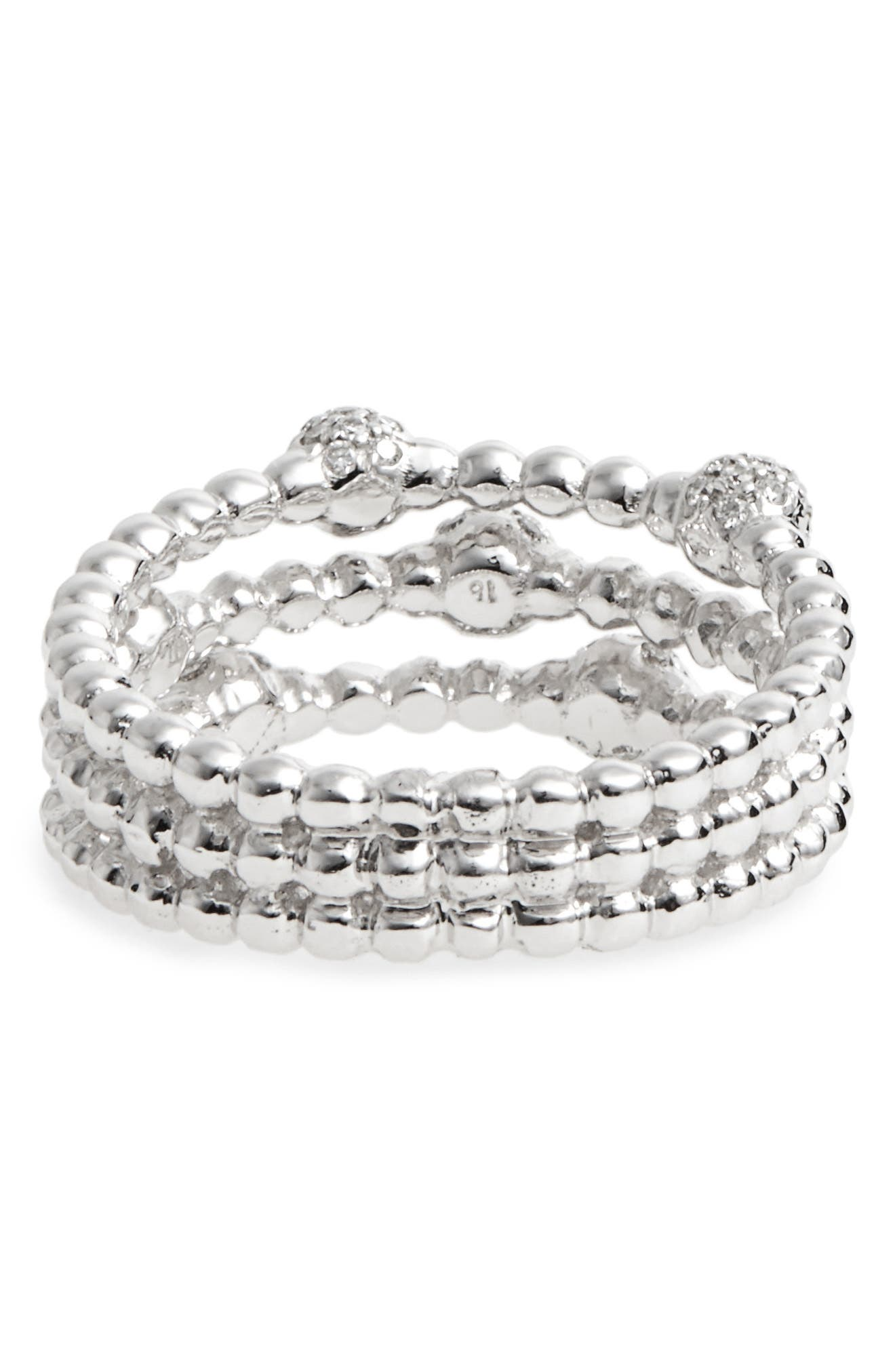 BONY LEVY,                             Pavé Ball Bead Three-Row Diamond Ring,                             Alternate thumbnail 4, color,                             WHITE GOLD