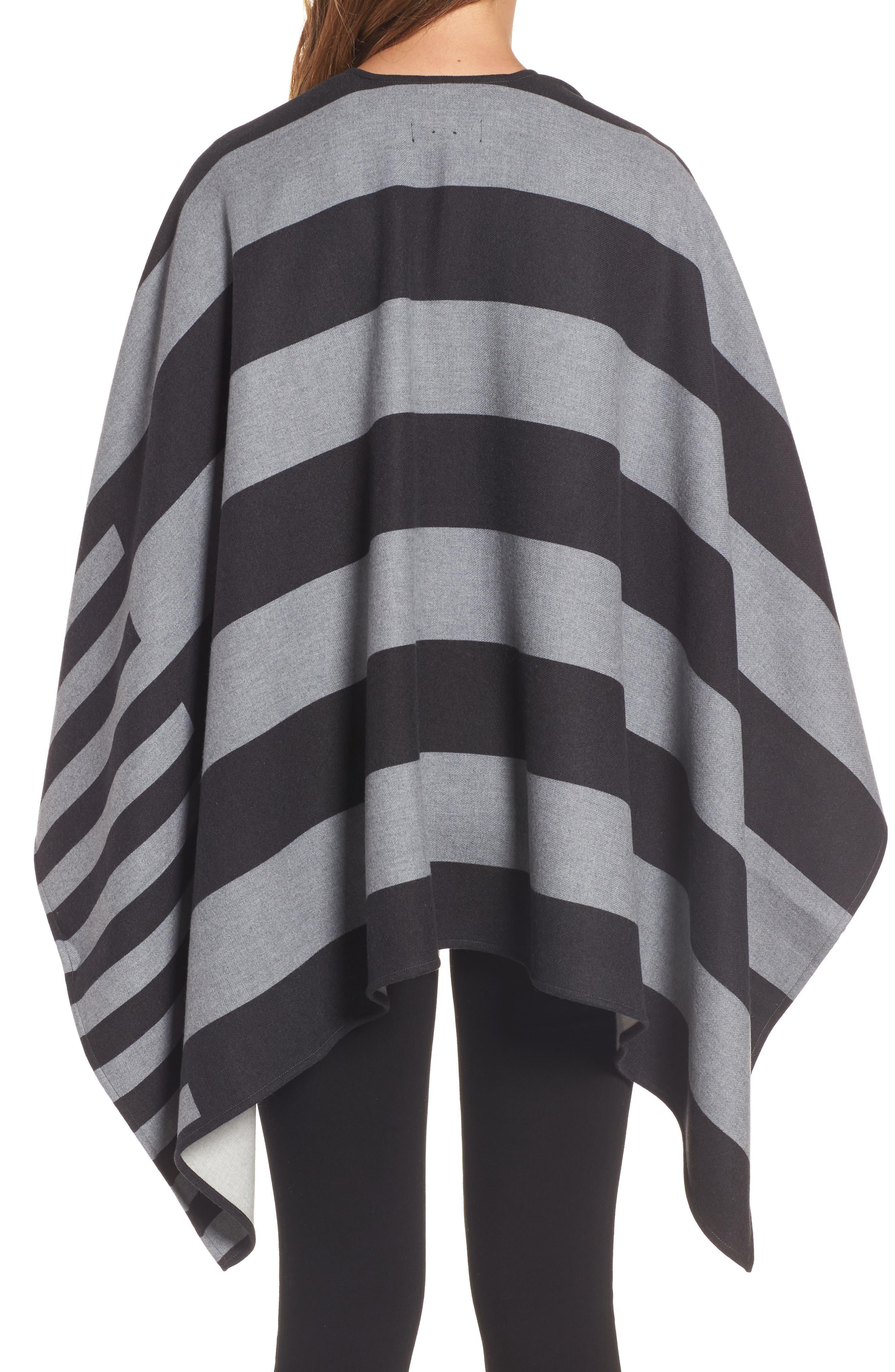 Stripe Merino Wool Poncho,                             Alternate thumbnail 2, color,                             020