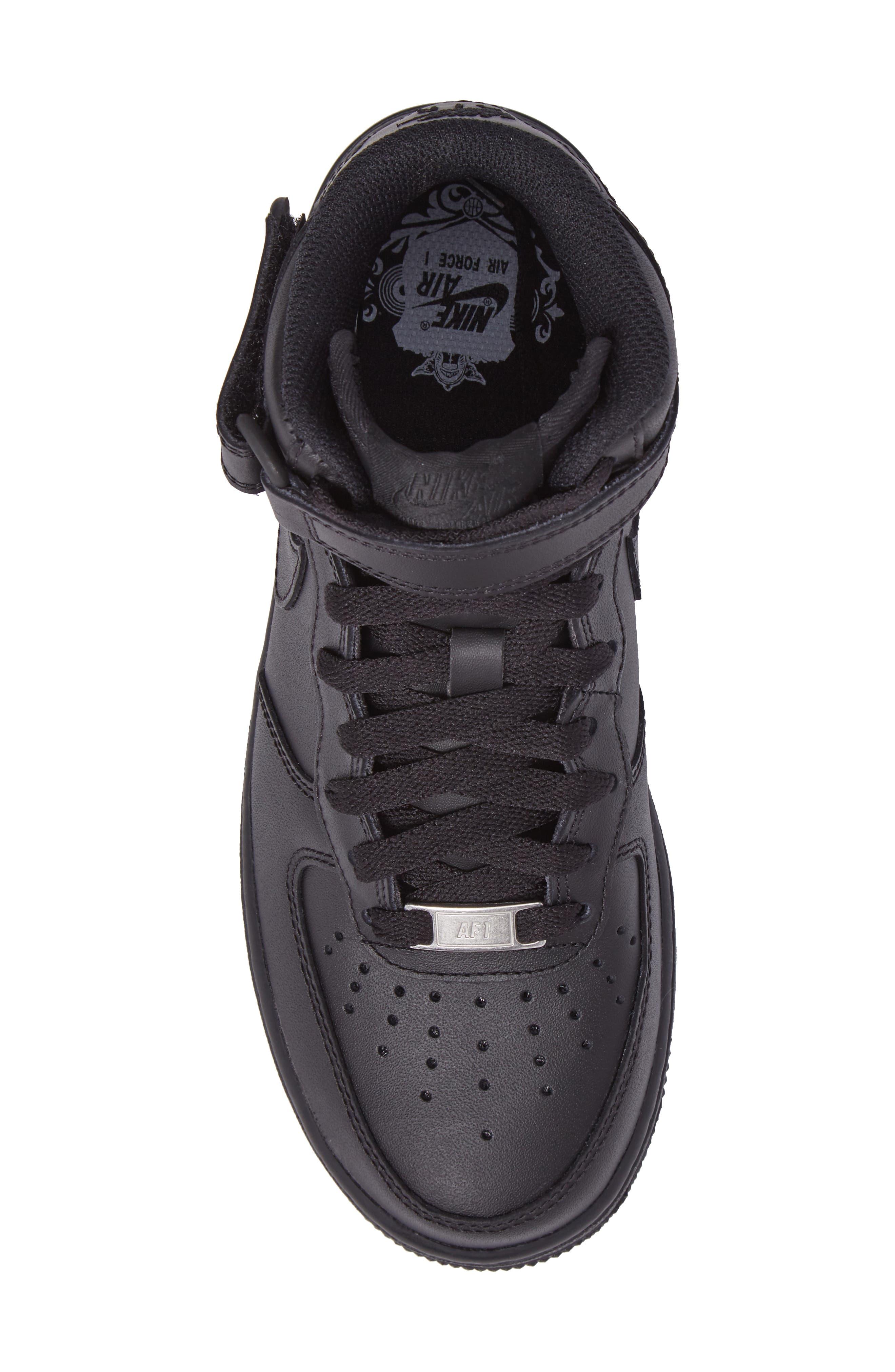 Air Force 1 '07 Mid Sneaker,                             Alternate thumbnail 5, color,                             BLACK/ BLACK