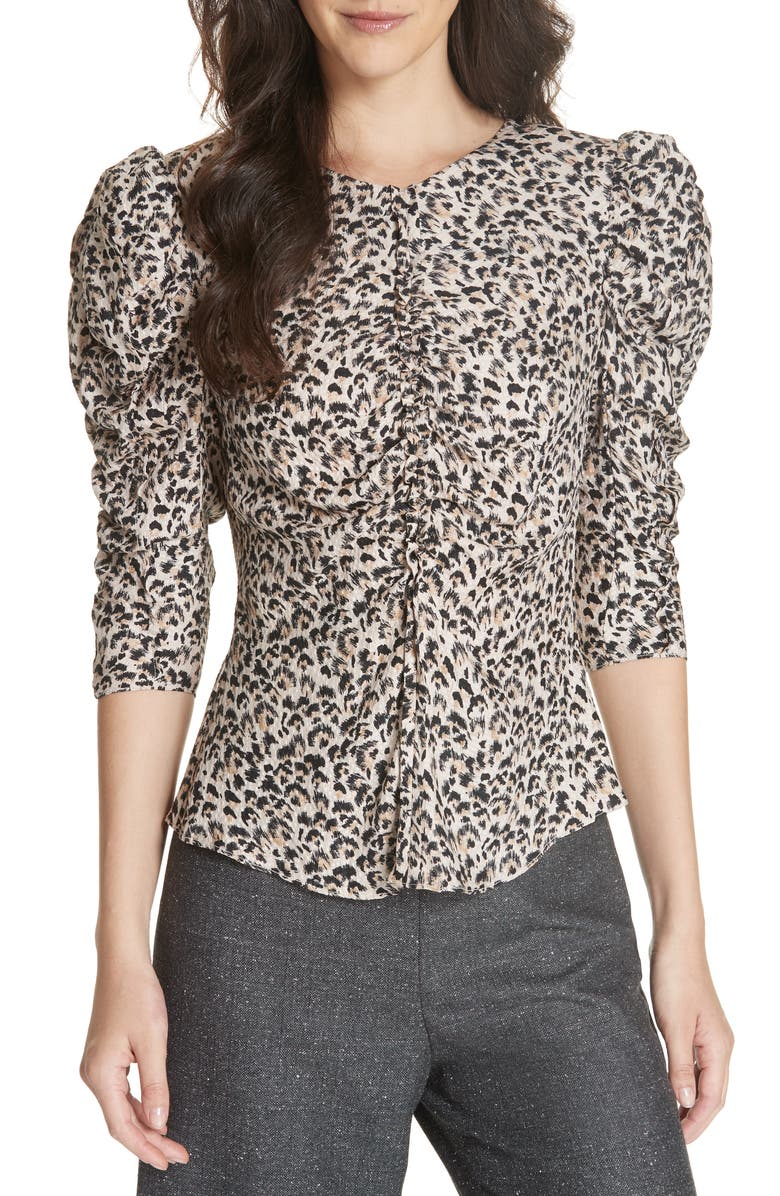 Leopard Print Ruched Silk Blouse,                         Main,                         color, CARAMEL COMBO