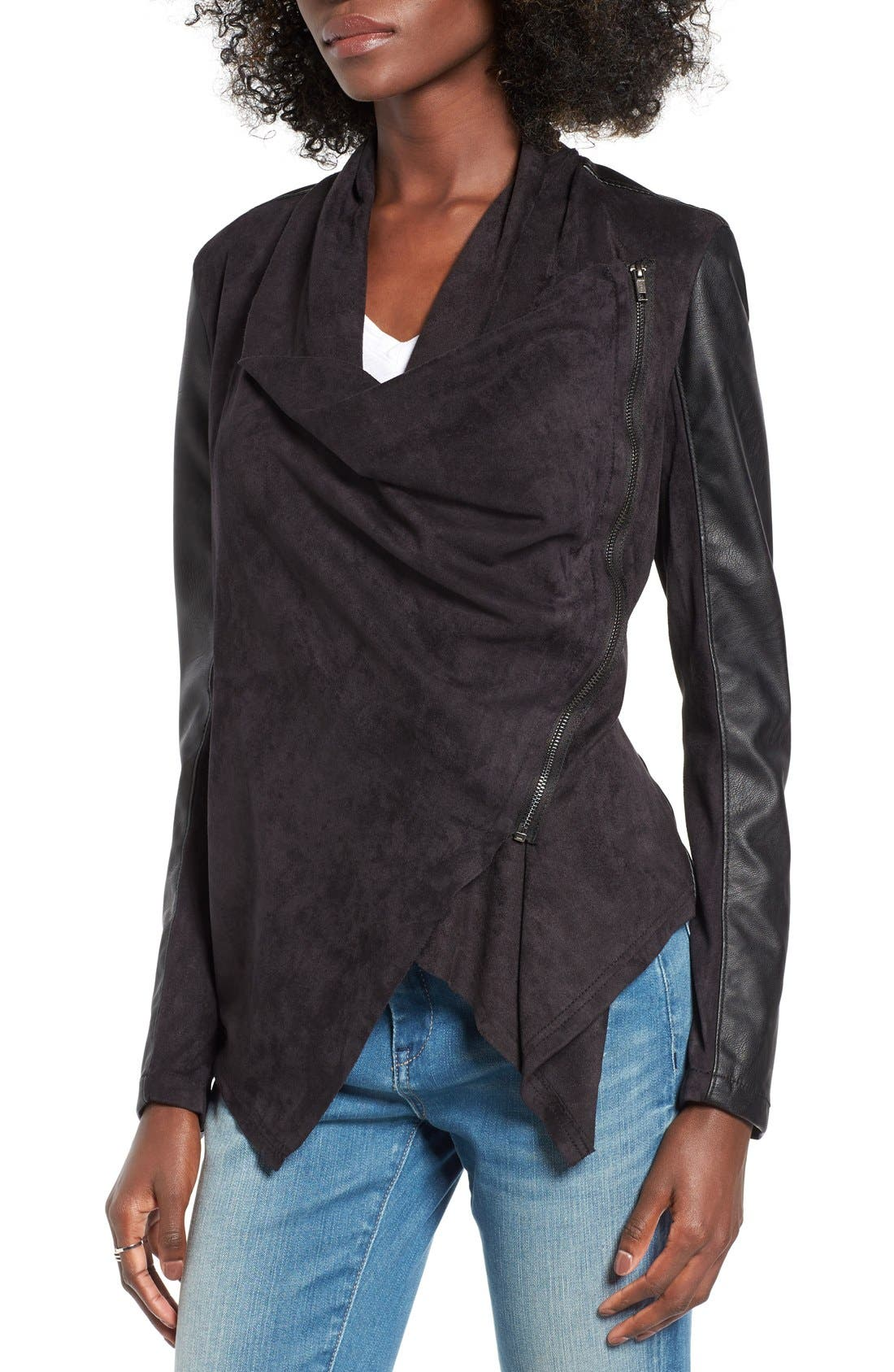 Mixed Media Faux Leather Drape Front Jacket,                             Alternate thumbnail 7, color,