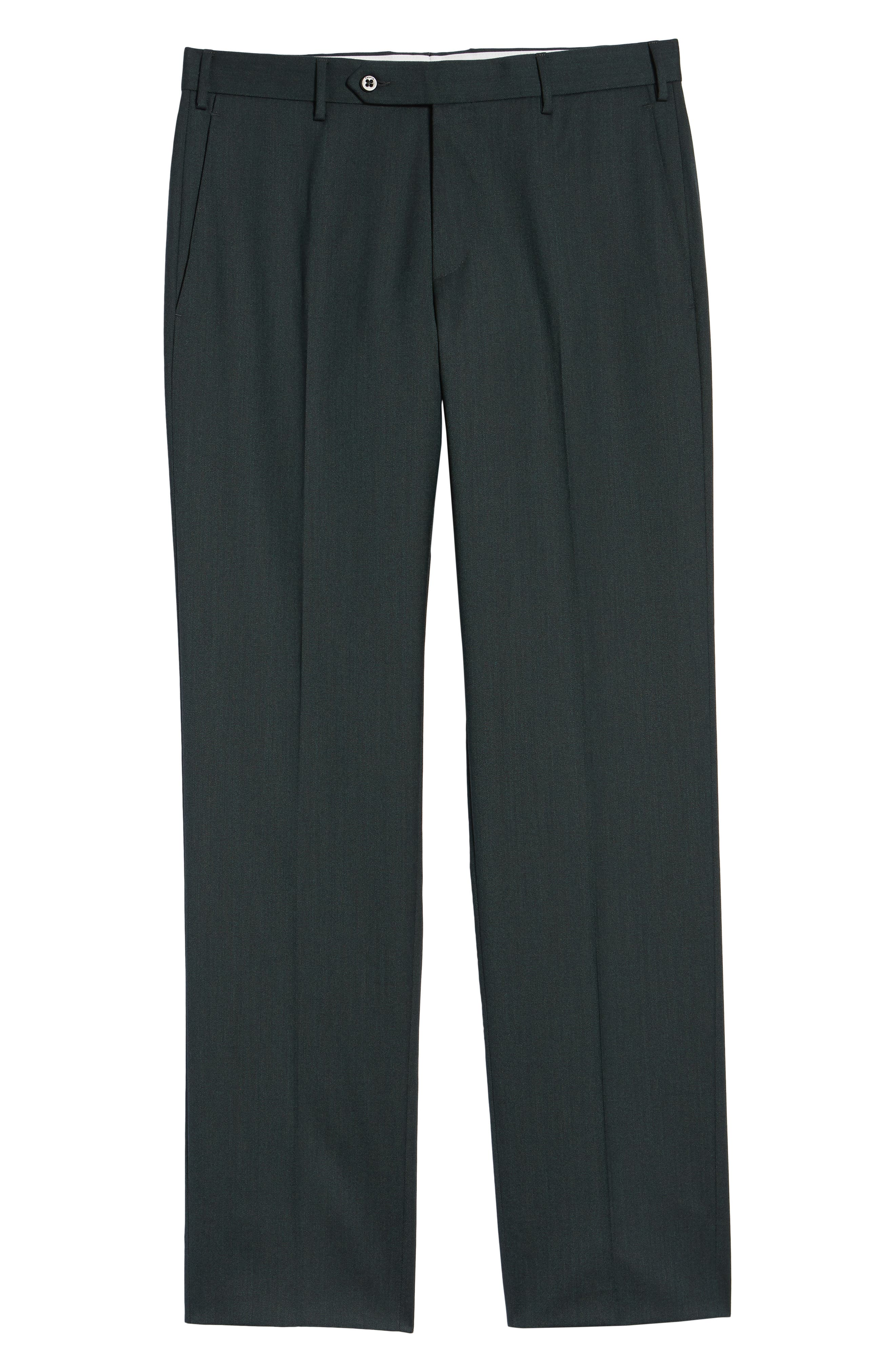 Parker Flat Front Stretch Twill Wool Trousers,                             Alternate thumbnail 6, color,                             OLIVE