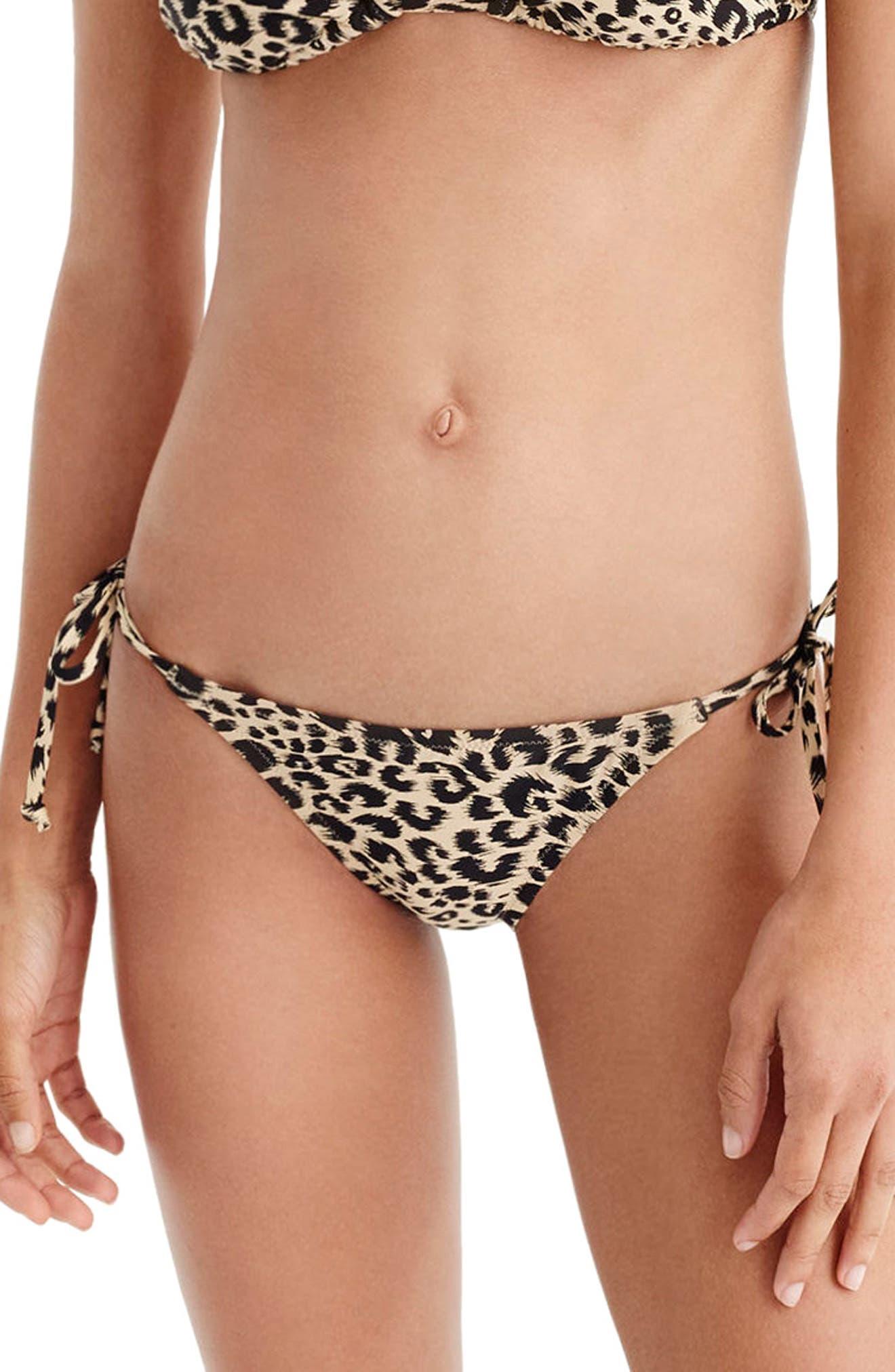 Leopard String Bikini Bottoms,                         Main,                         color,
