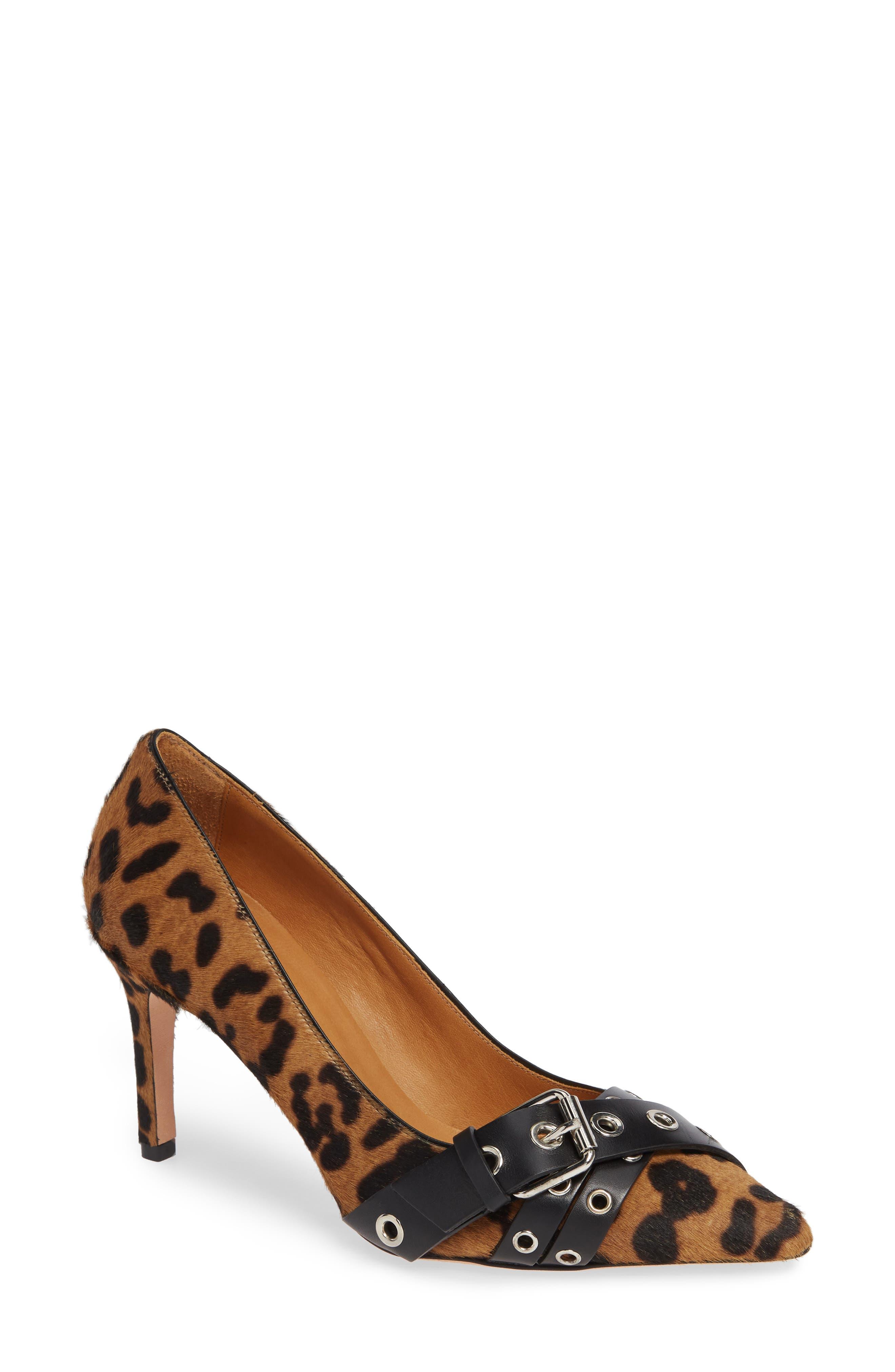 Mel Leopard-Print Buckled Calf Hair Pumps in Brown