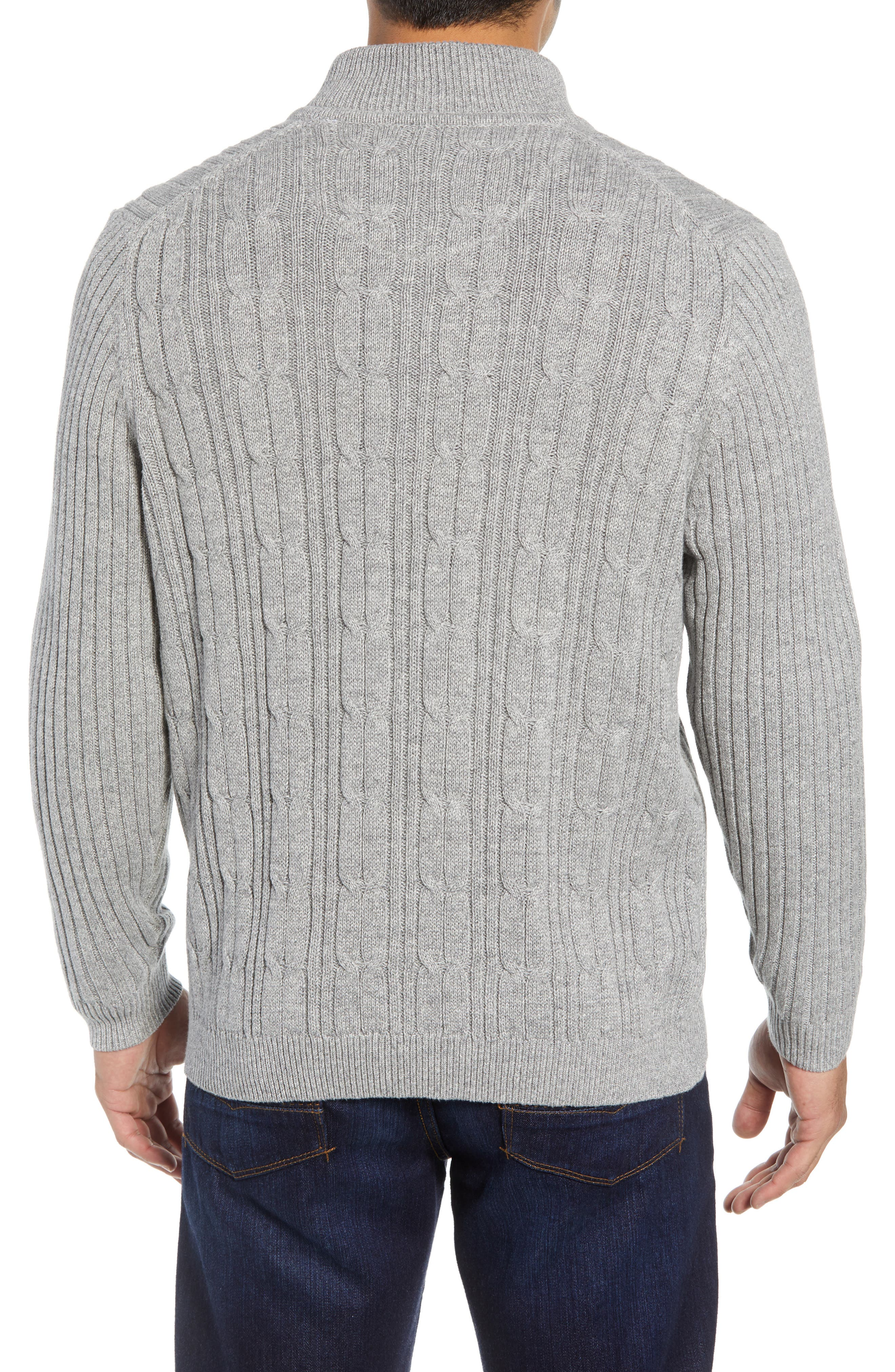 Tenorio Cable Knit Zip Sweater,                             Alternate thumbnail 2, color,                             LIGHT STORM