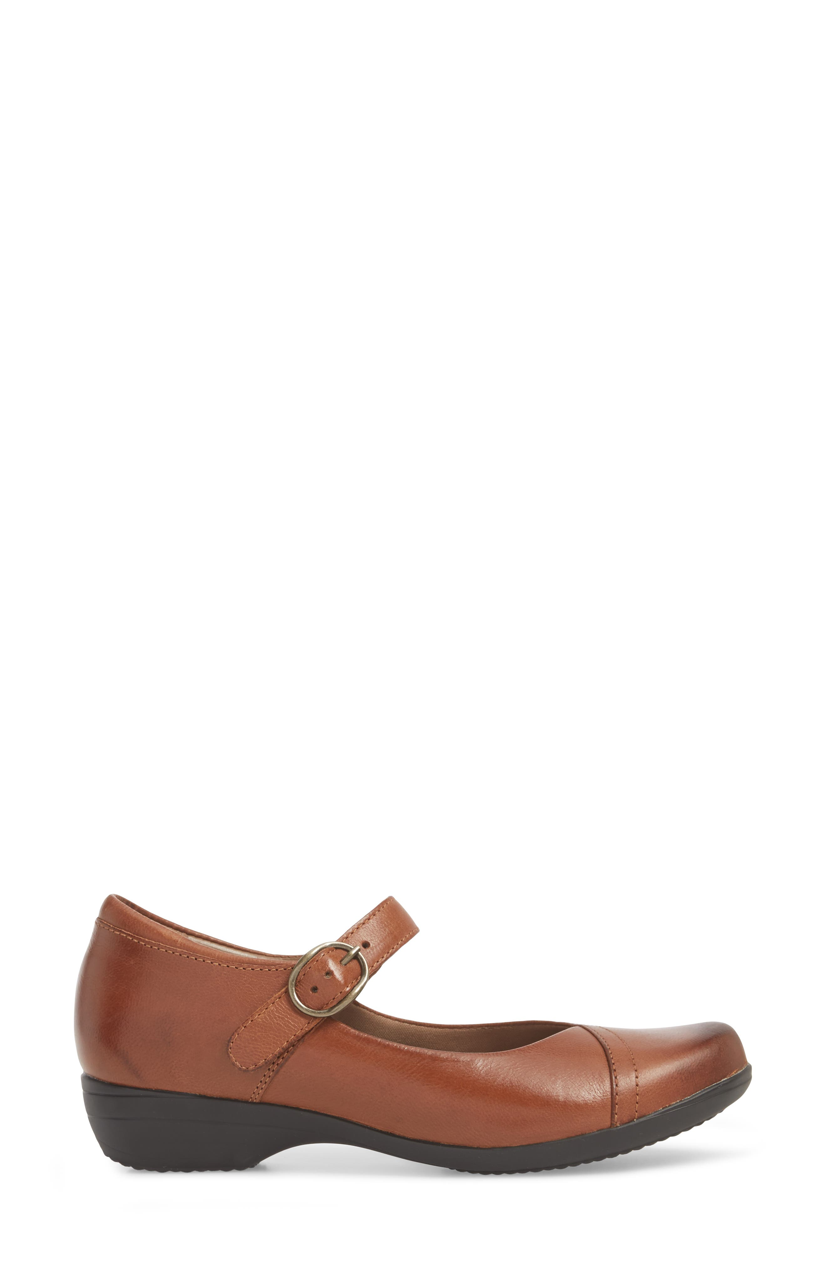 Fawna Mary Jane Flat,                             Alternate thumbnail 3, color,                             CHESTNUT LEATHER