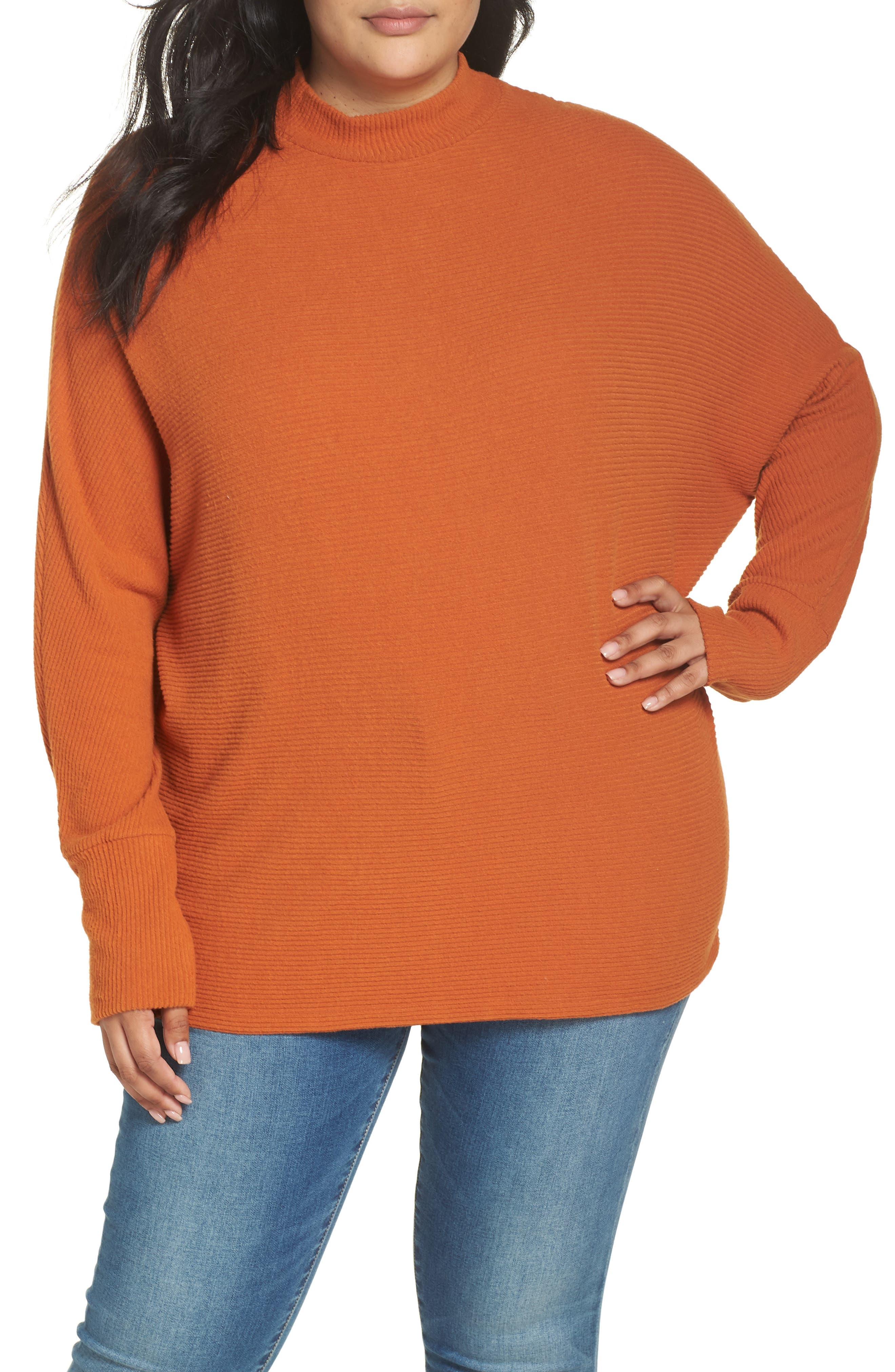 Dolman Sleeve Ribbed Top,                             Alternate thumbnail 2, color,                             RUST CIDER