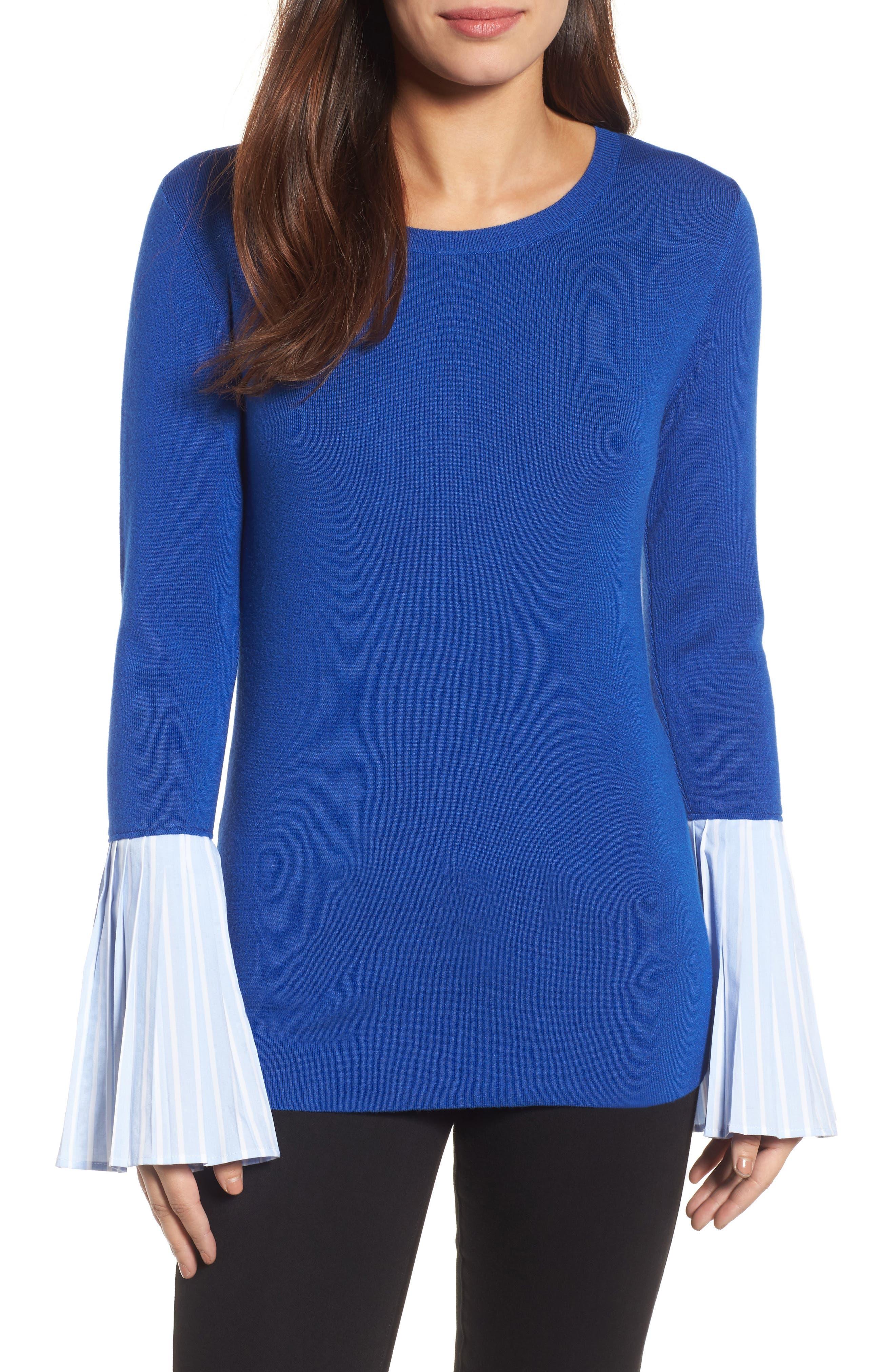 Poplin Bell Cuff Sweater,                             Main thumbnail 3, color,