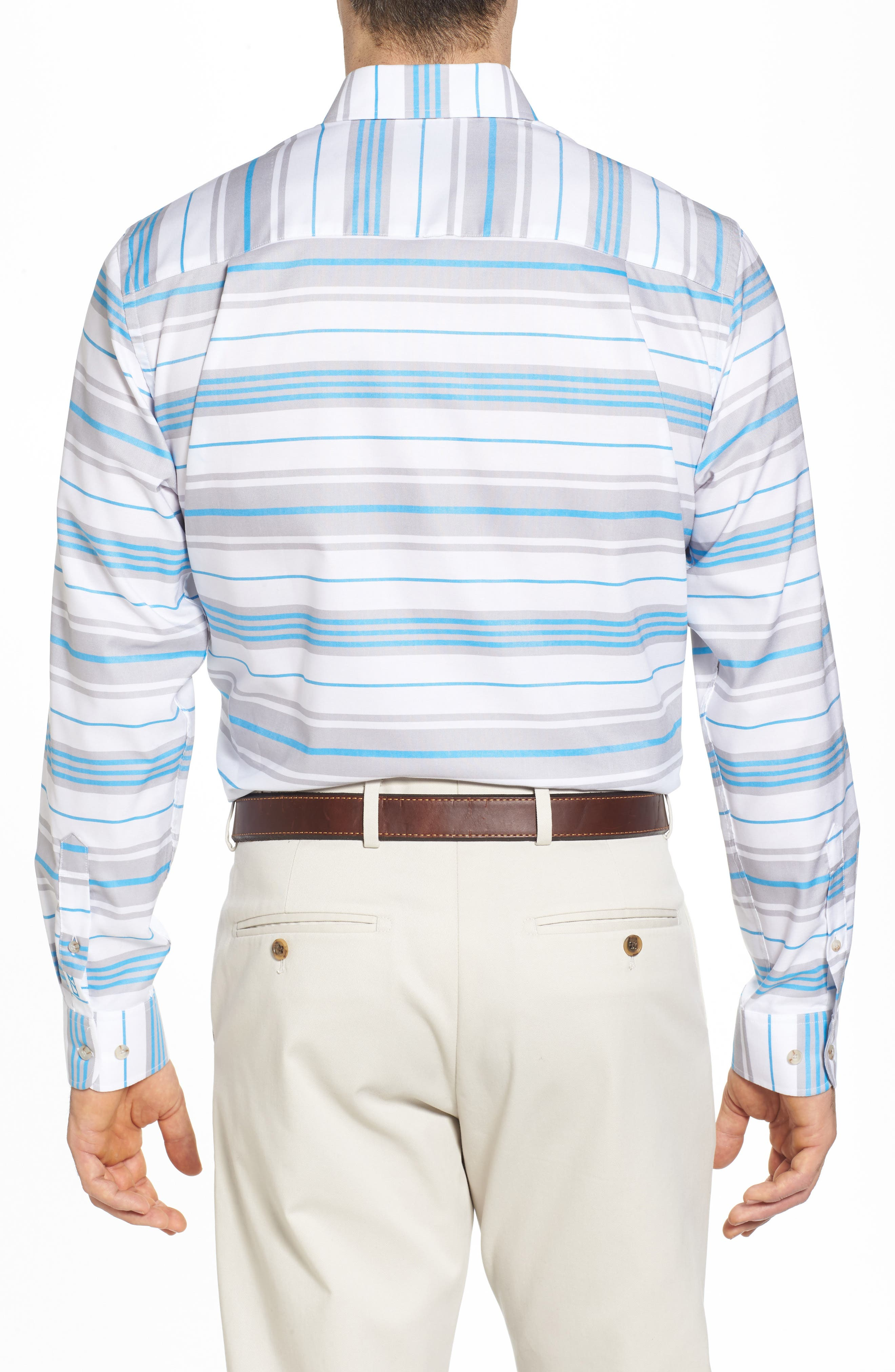 Parker Classic Fit Non-Iron Stripe Sport Shirt,                             Alternate thumbnail 2, color,                             425