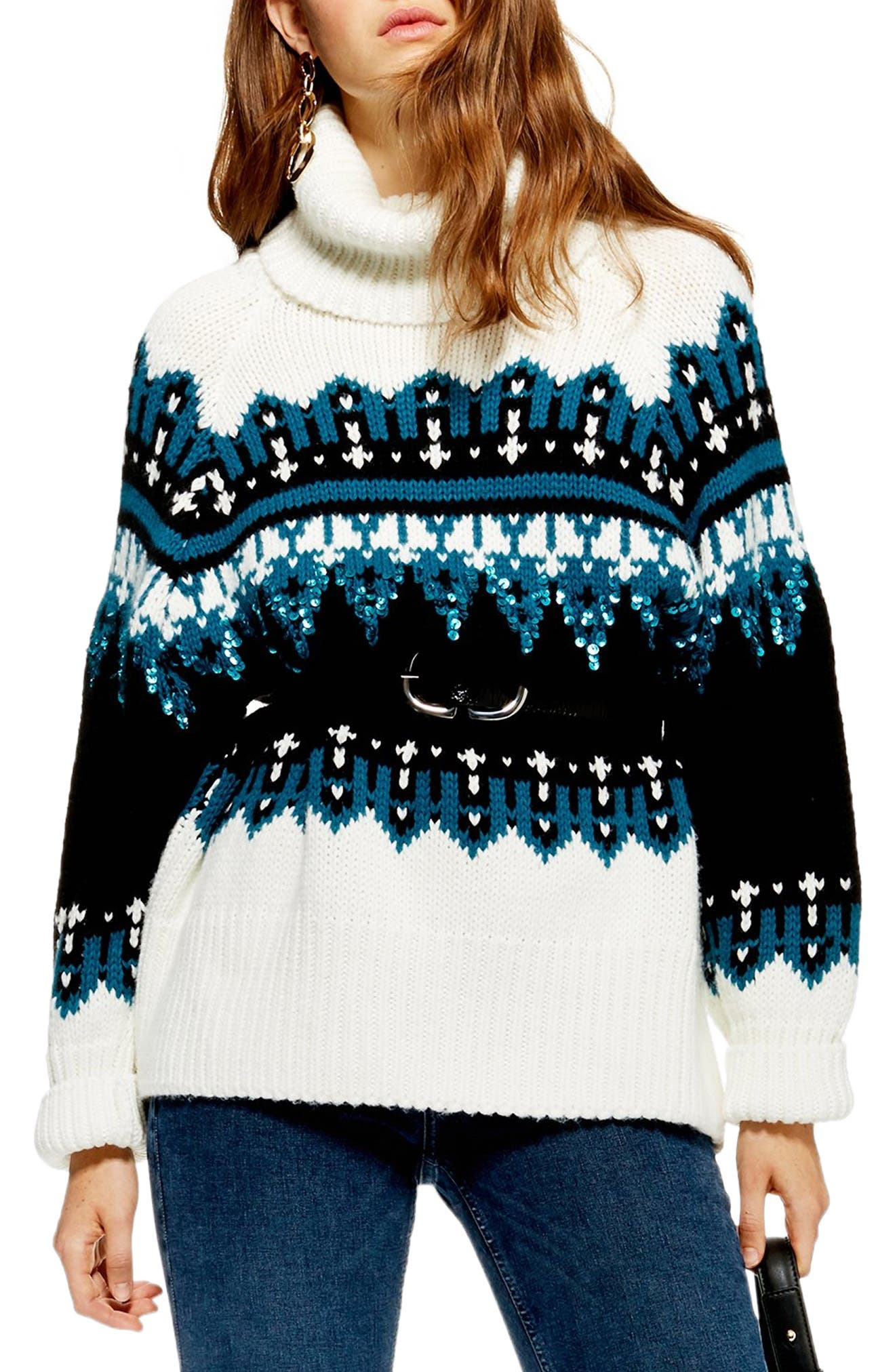 Topshop Sequin Oversize Fair Isle Sweater, Ivory