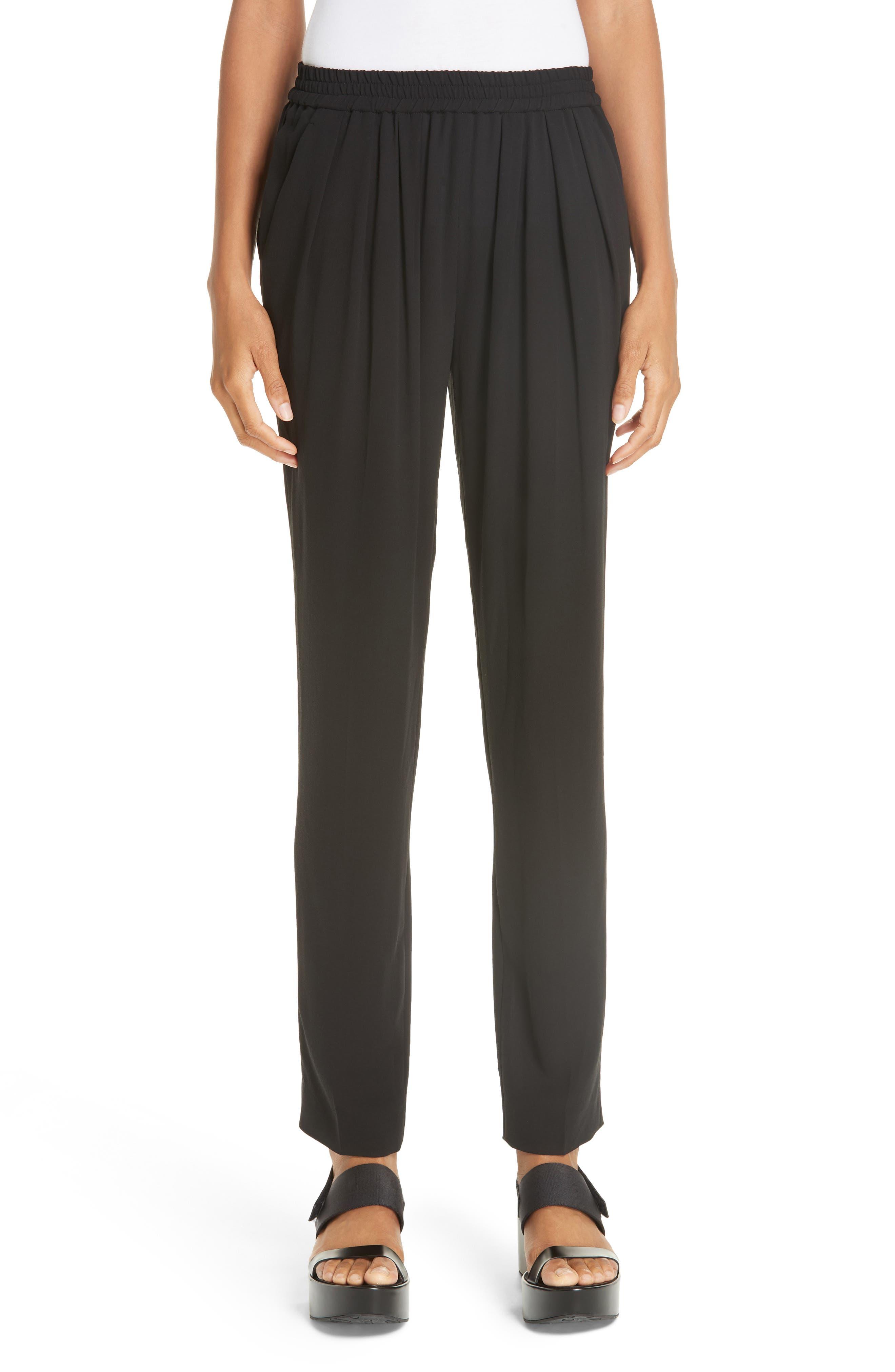 Silk-Georgette Jogger Pants in Black