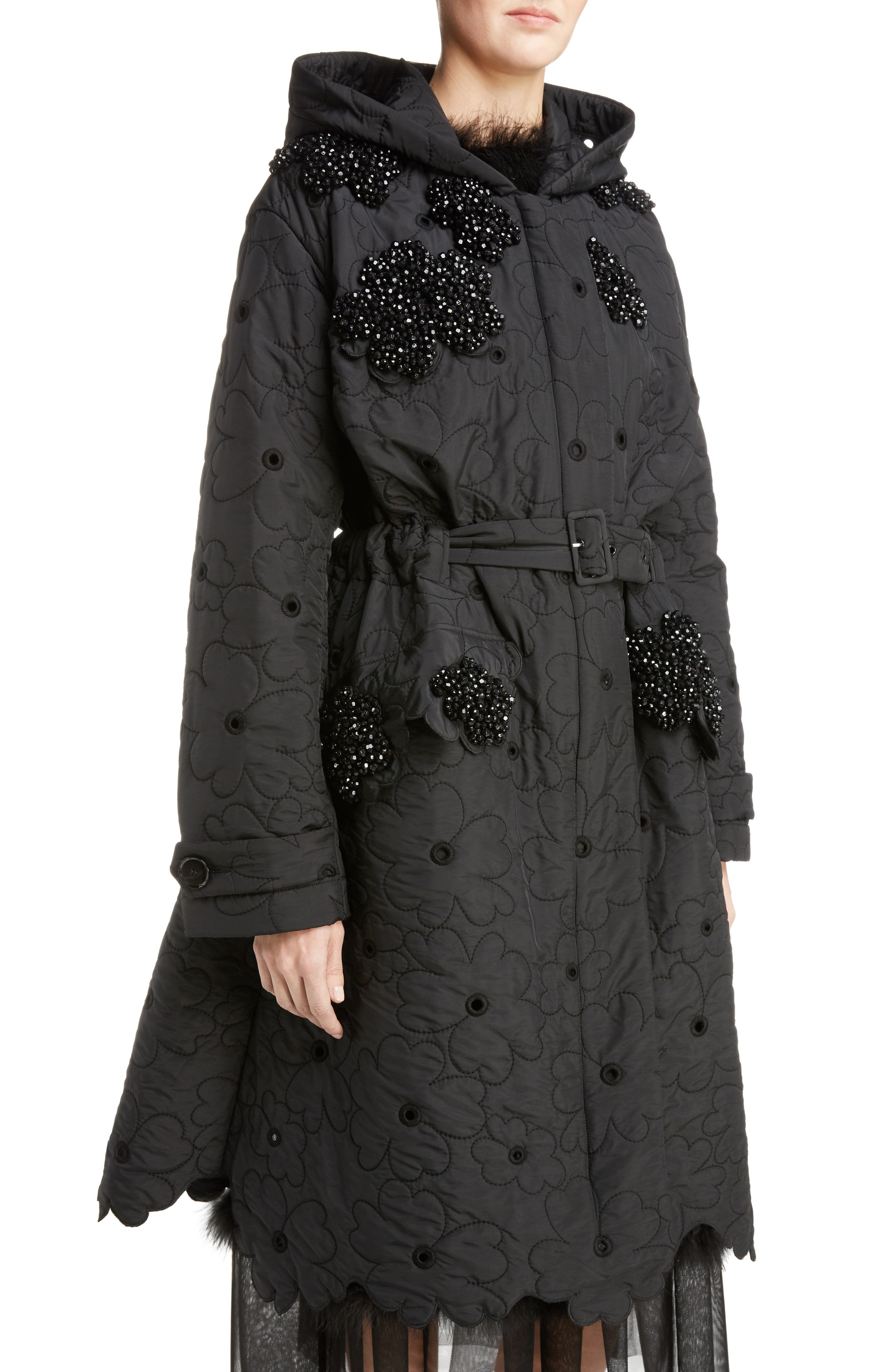 Beaded Floral Quilted Parka,                             Alternate thumbnail 4, color,                             001