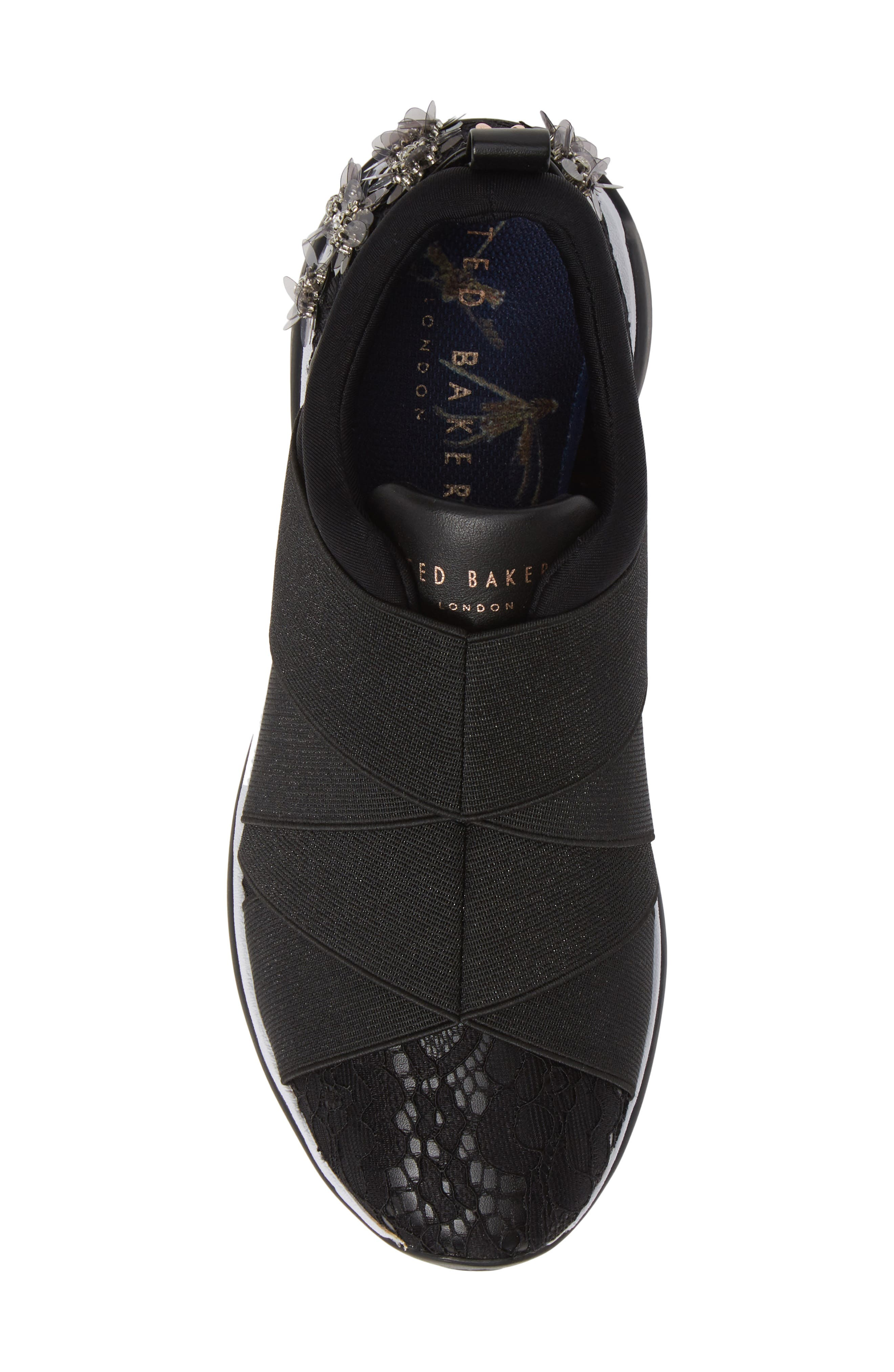 Queanel Sneaker,                             Alternate thumbnail 5, color,                             BLACK FABRIC