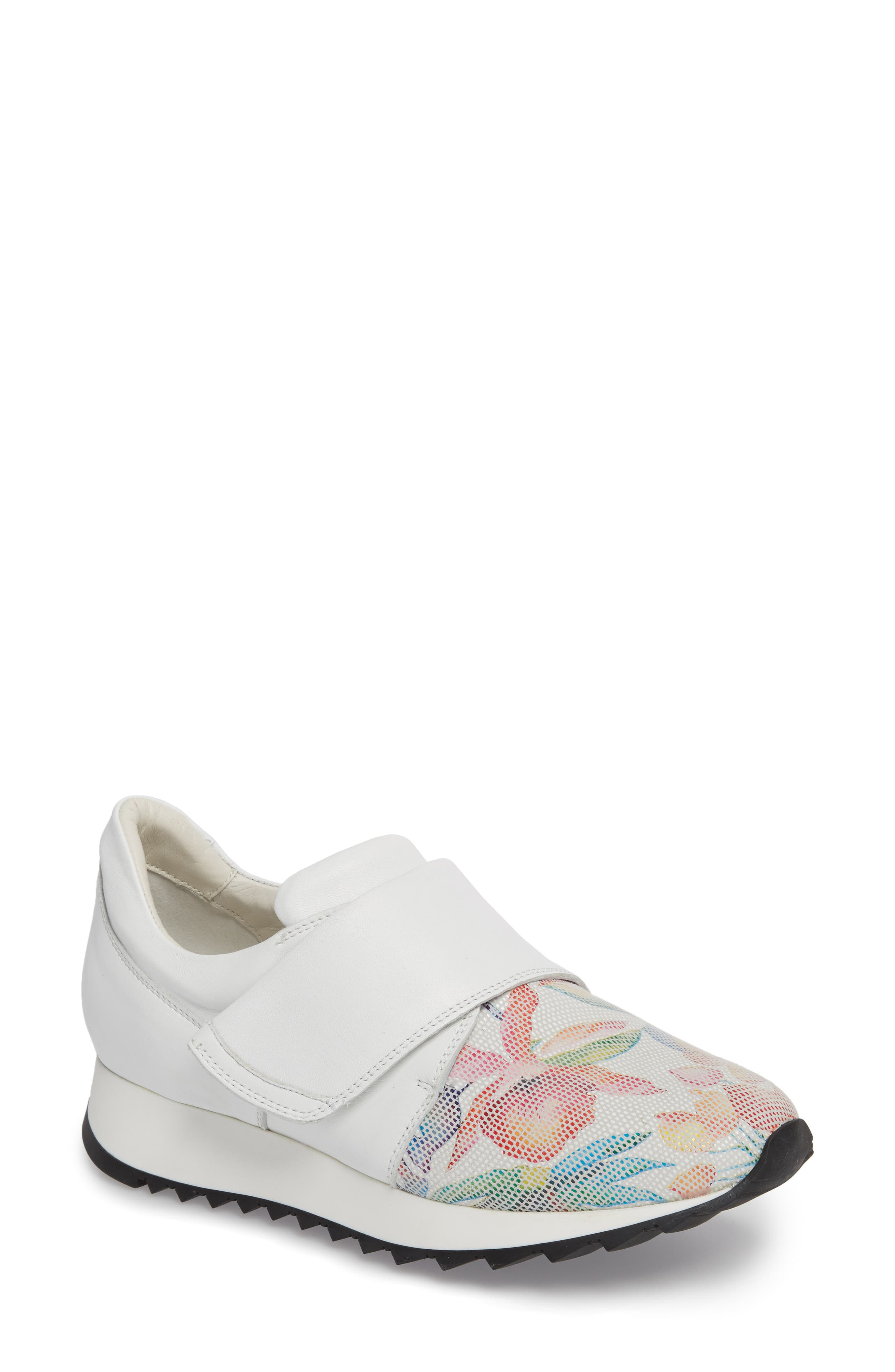 Danza Wedge Sneaker,                             Main thumbnail 1, color,                             WHITE LEATHER