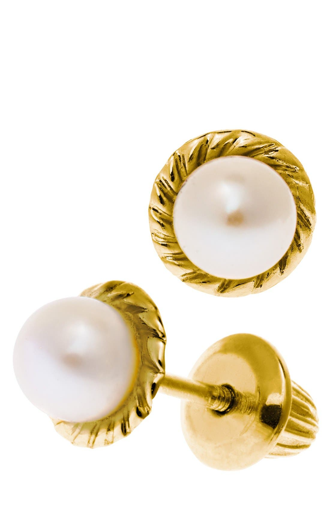 14k Yellow Gold & Cultured Pearl Earrings,                             Alternate thumbnail 3, color,                             WHITE