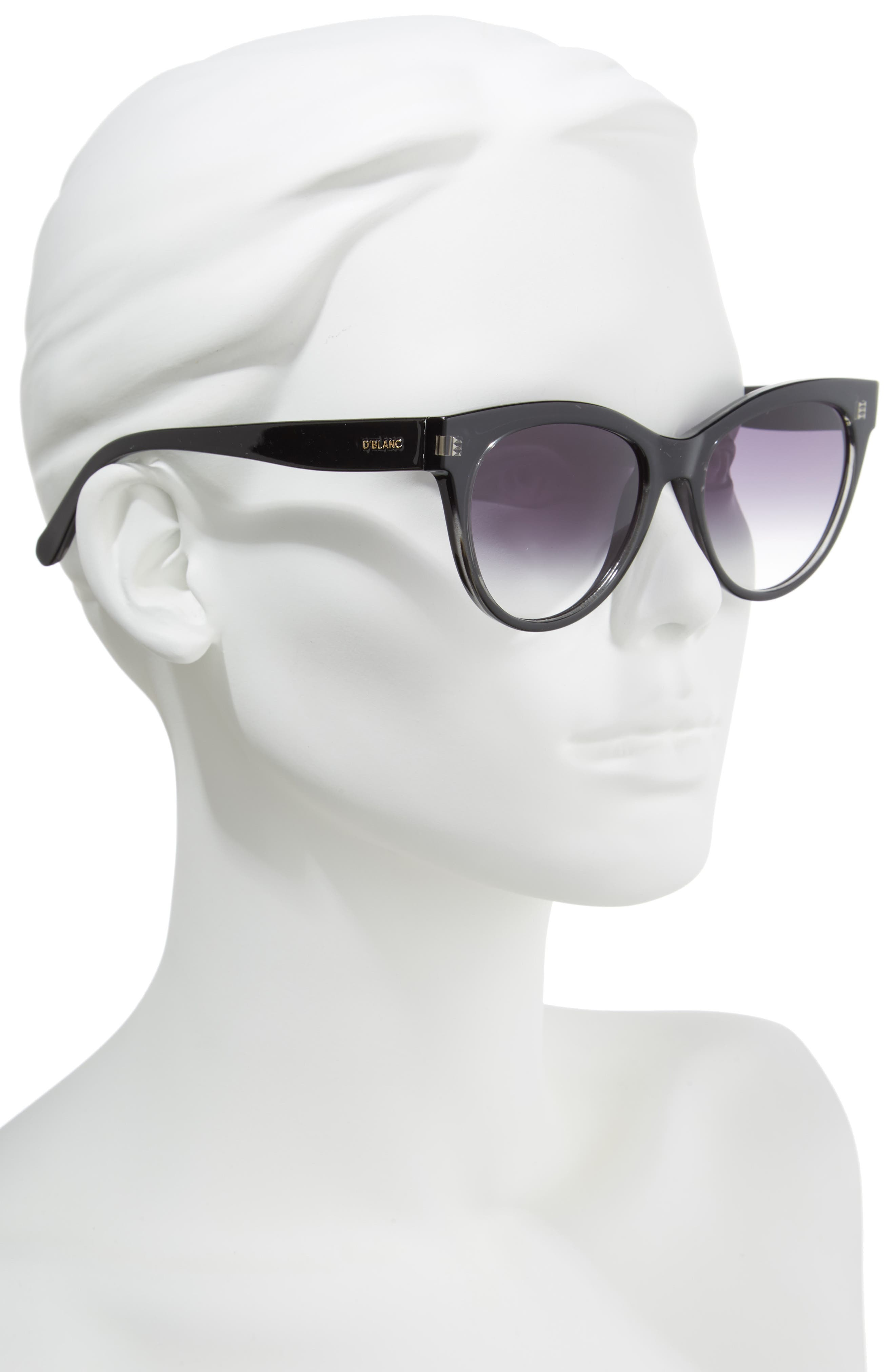 D'BLANC Felicity 54mm Cat Eye Sunglasses,                             Alternate thumbnail 2, color,                             001