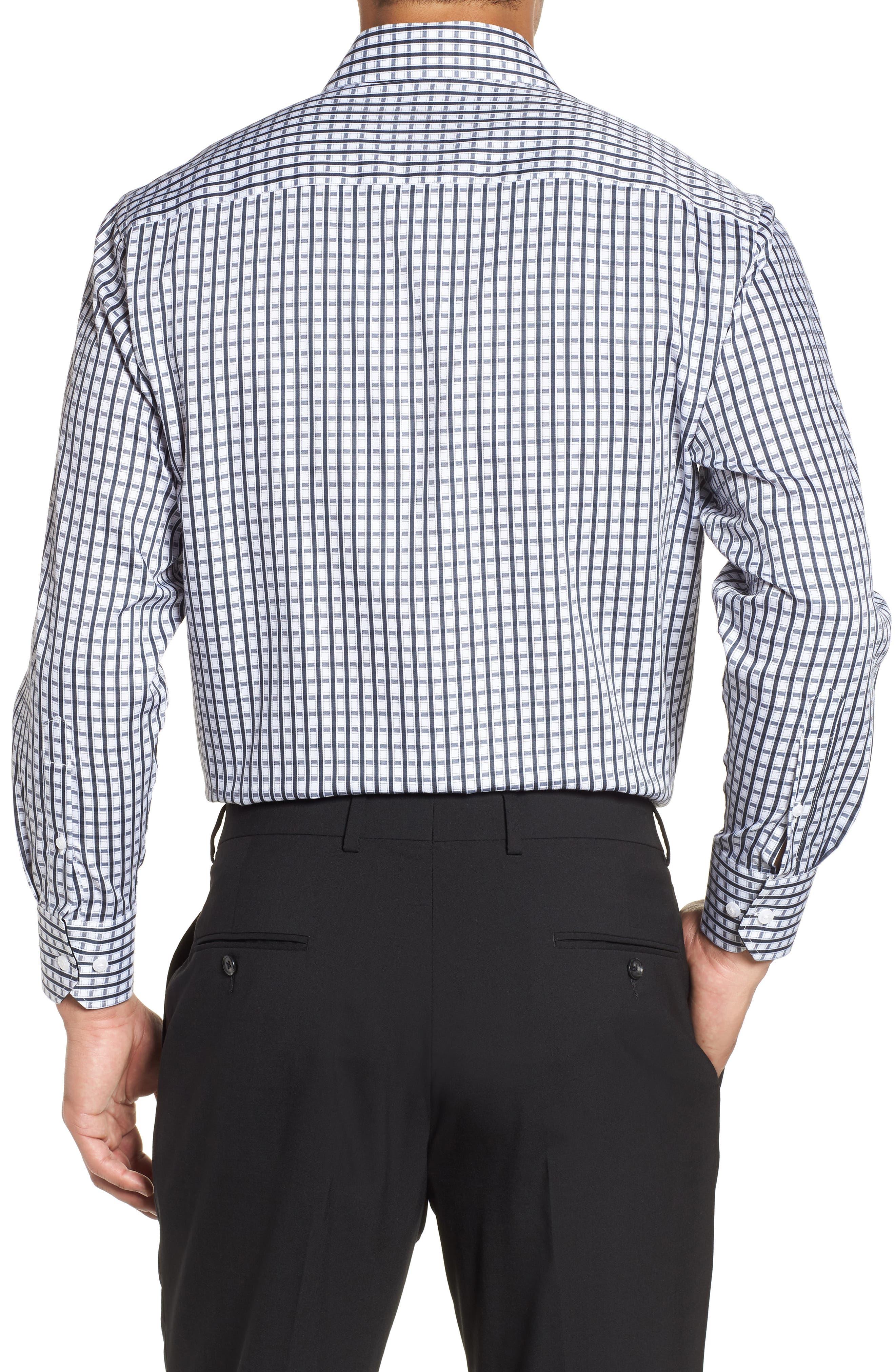 Regular Fit Check Dress Shirt,                             Alternate thumbnail 3, color,                             BLACK