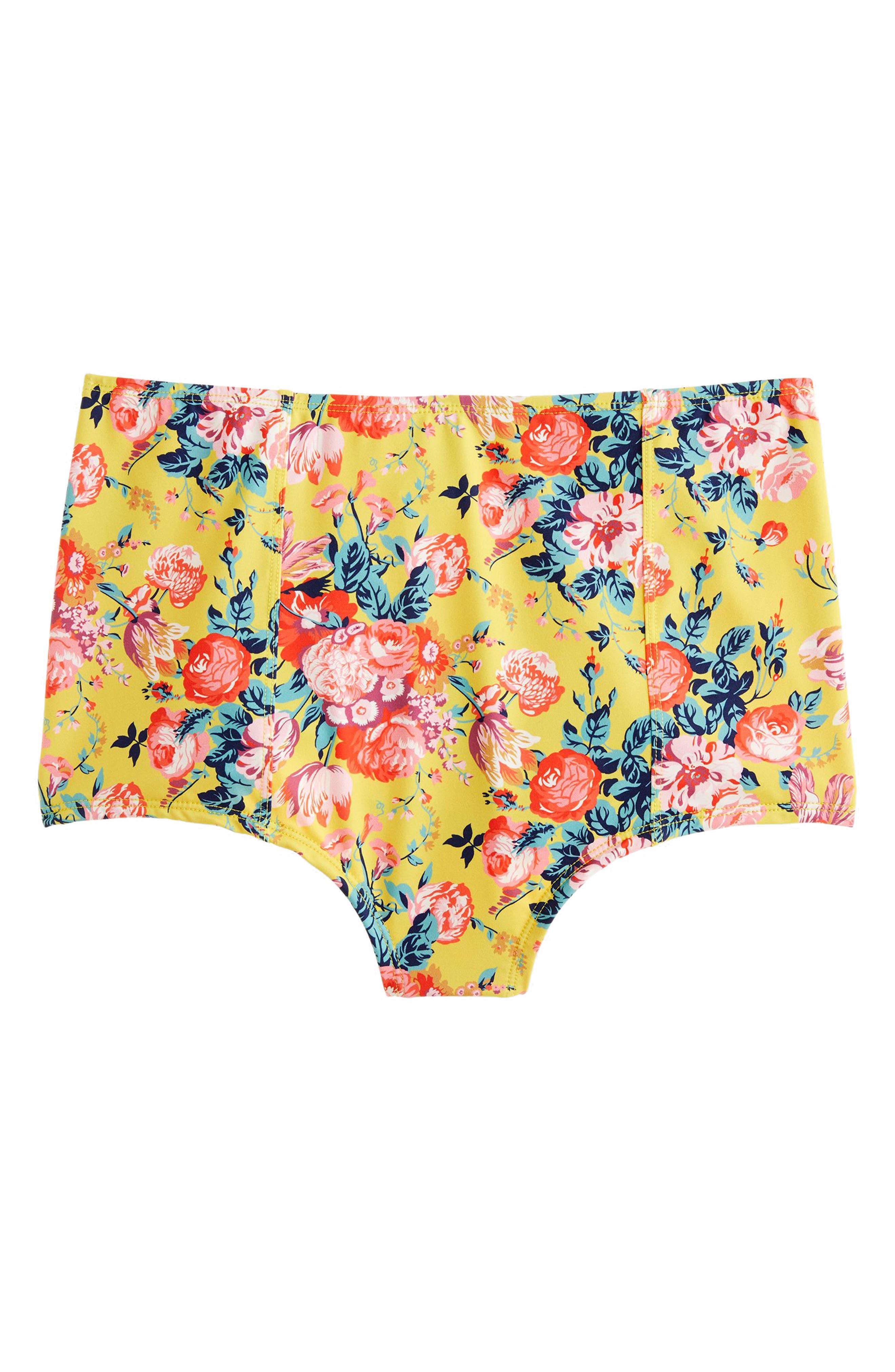 Liberty Magical Bouquet High Waist Bikini Bottom,                         Main,                         color, YELLOW FLORAL