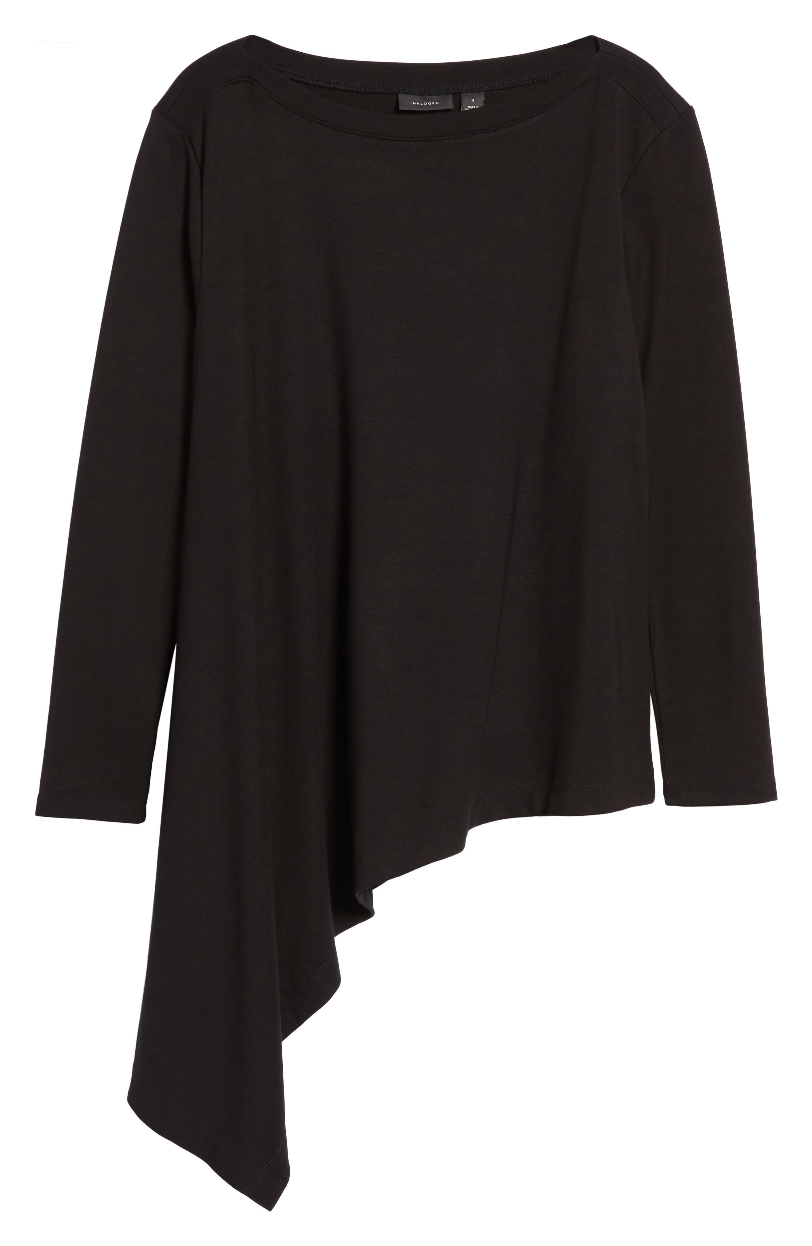 Boatneck Asymmetrical Tunic,                             Alternate thumbnail 6, color,                             BLACK