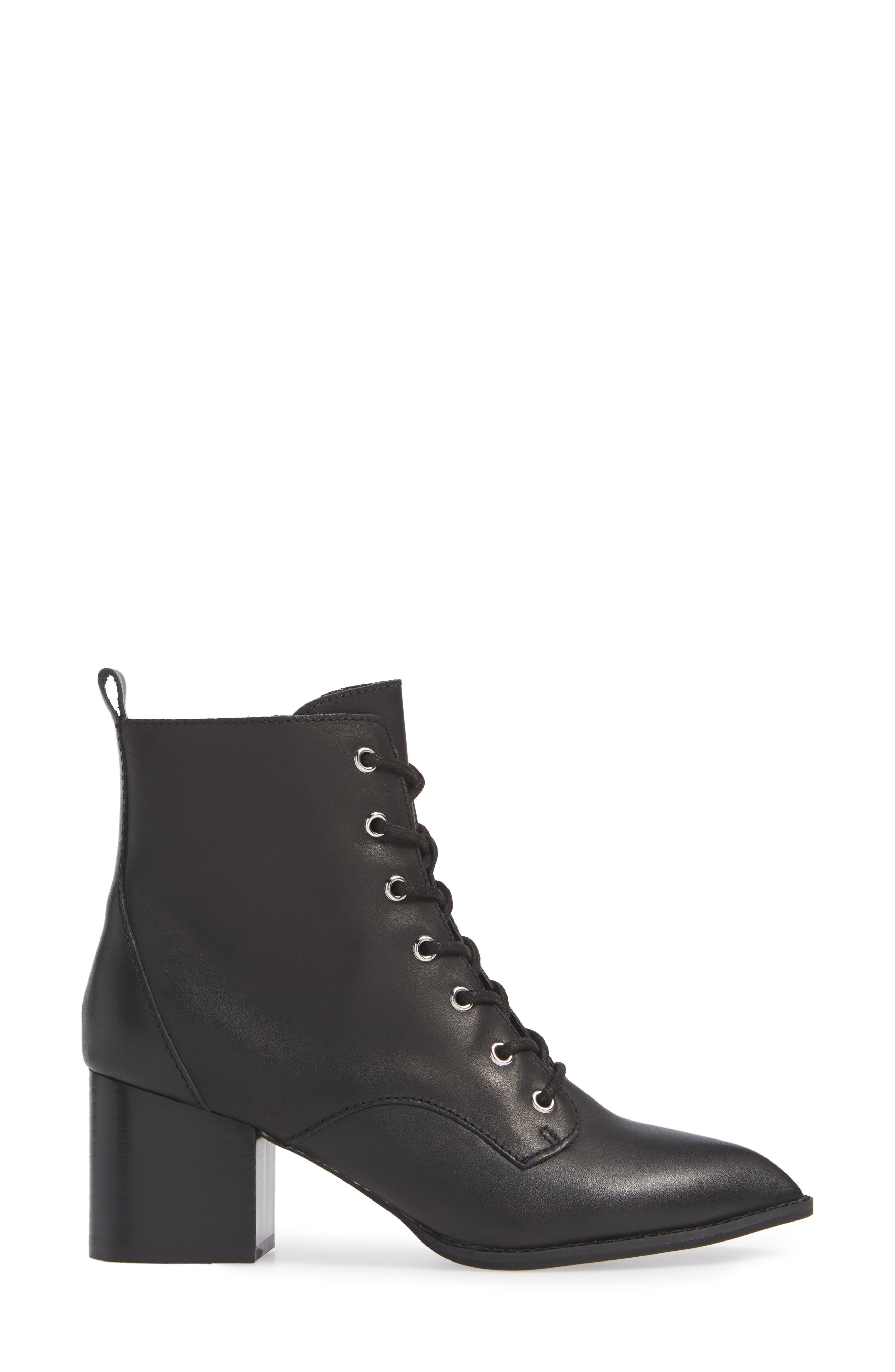 Trench Bootie,                             Alternate thumbnail 3, color,                             BLACK LEATHER