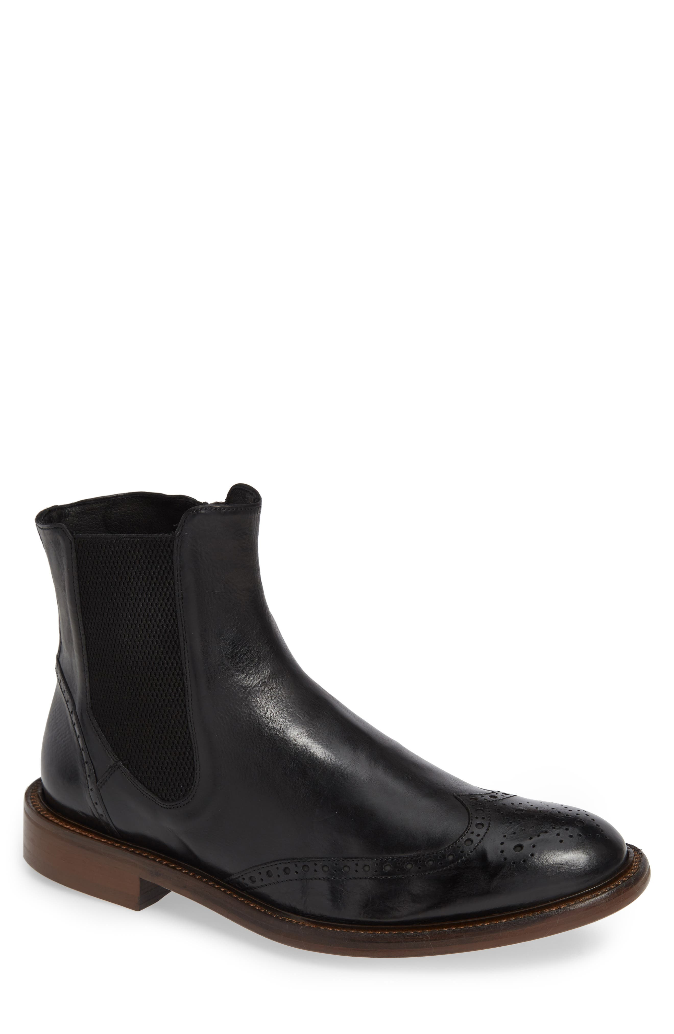 Bryson Wingtip Chelsea Boot,                         Main,                         color, BLACK LEATHER