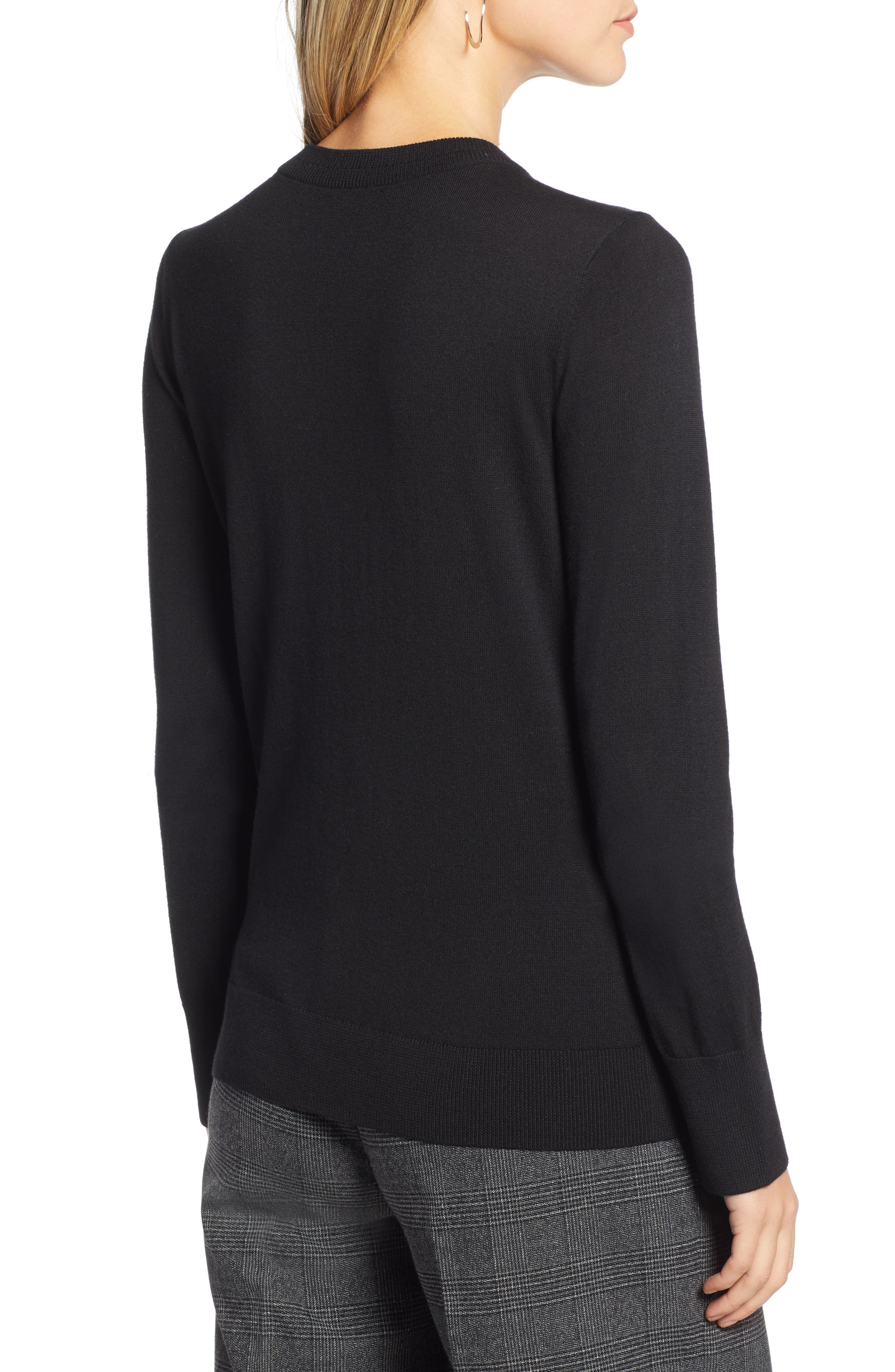 HALOGEN<SUP>®</SUP>,                             Slit Sleeve Sweater,                             Alternate thumbnail 2, color,                             BLACK