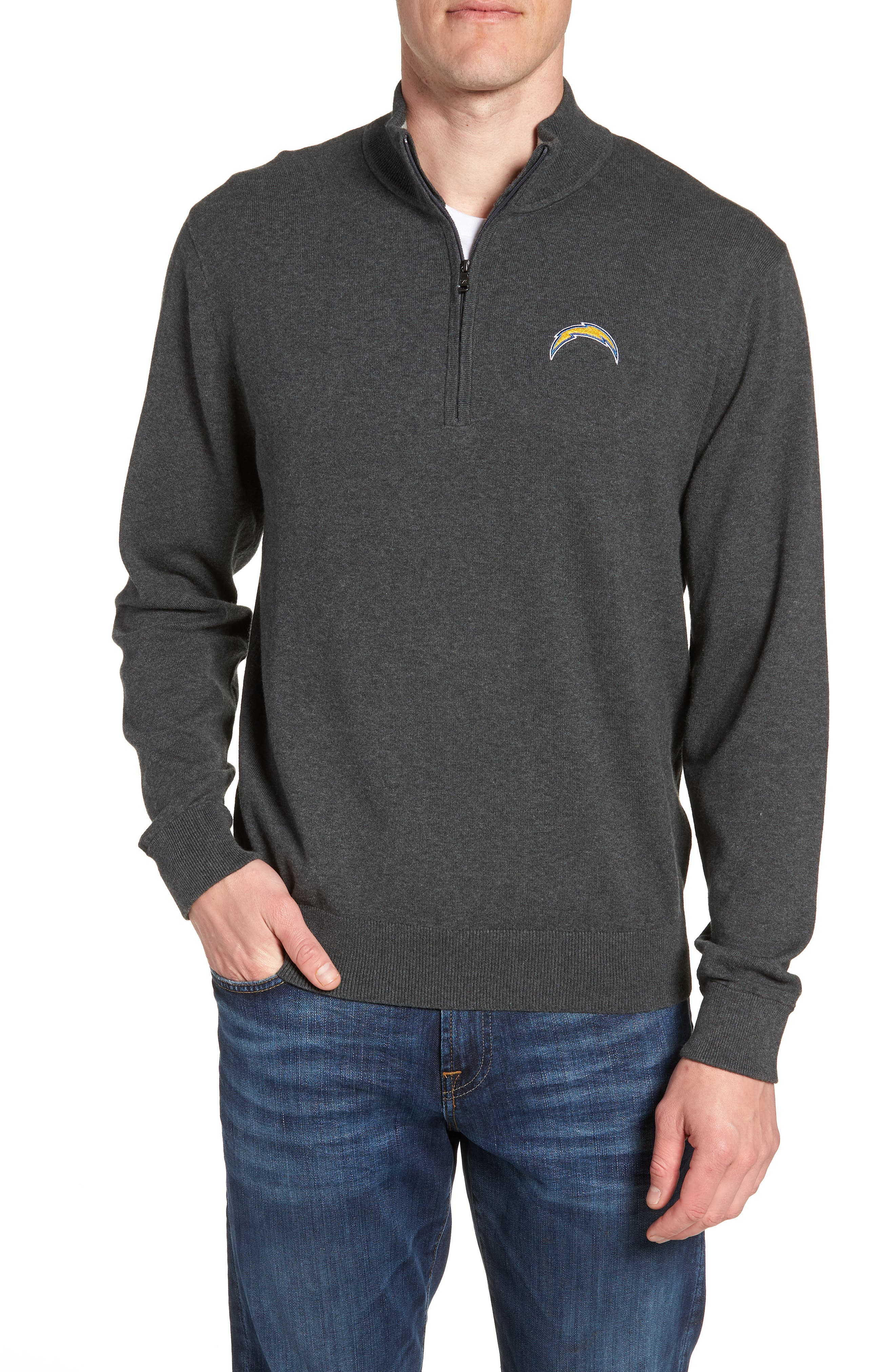 Los Angeles Chargers - Lakemont Regular Fit Quarter Zip Sweater,                         Main,                         color, CHARCOAL HEATHER